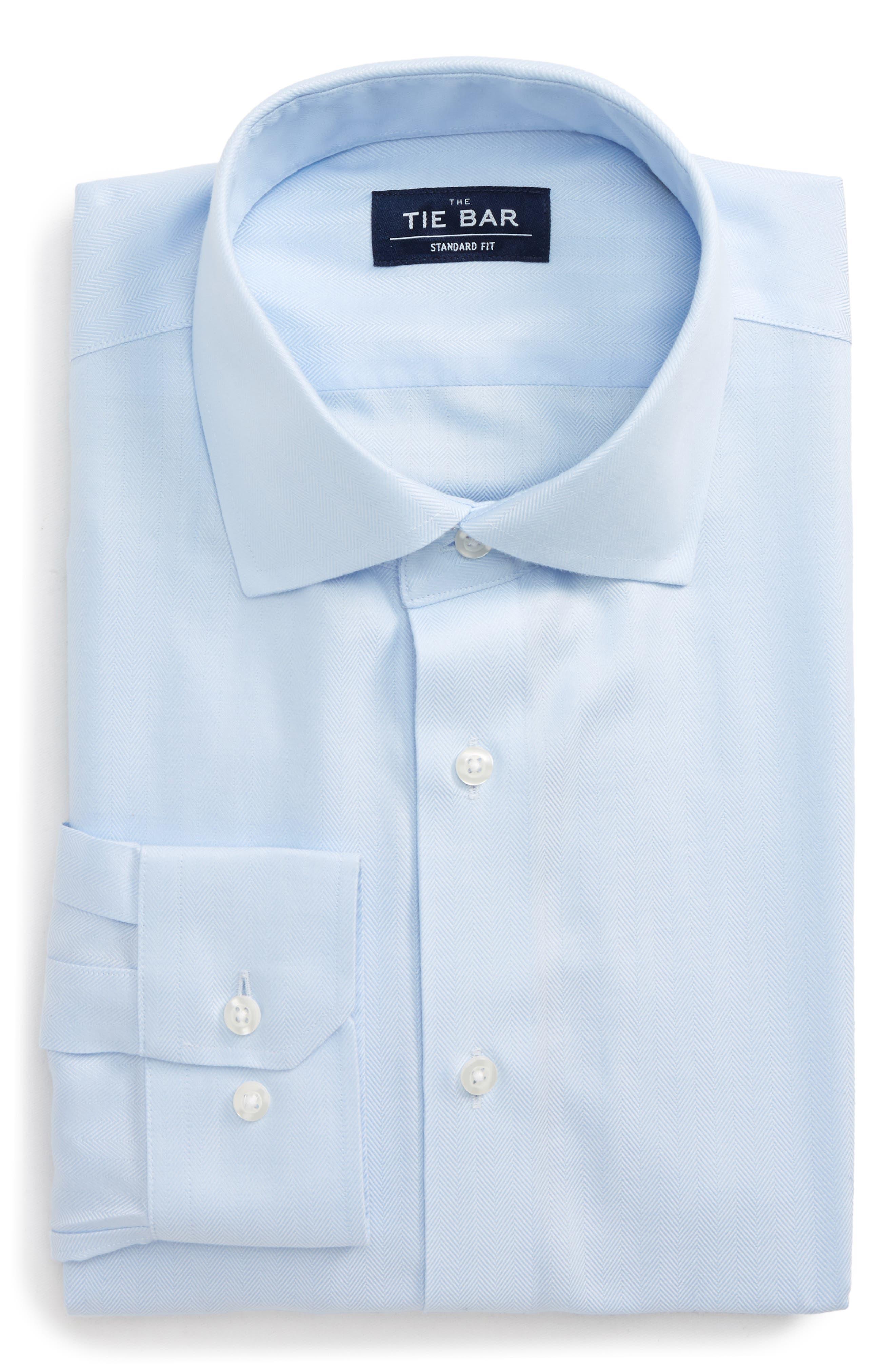 Standard Fit Herringbone Dress Shirt,                         Main,                         color, Light Blue