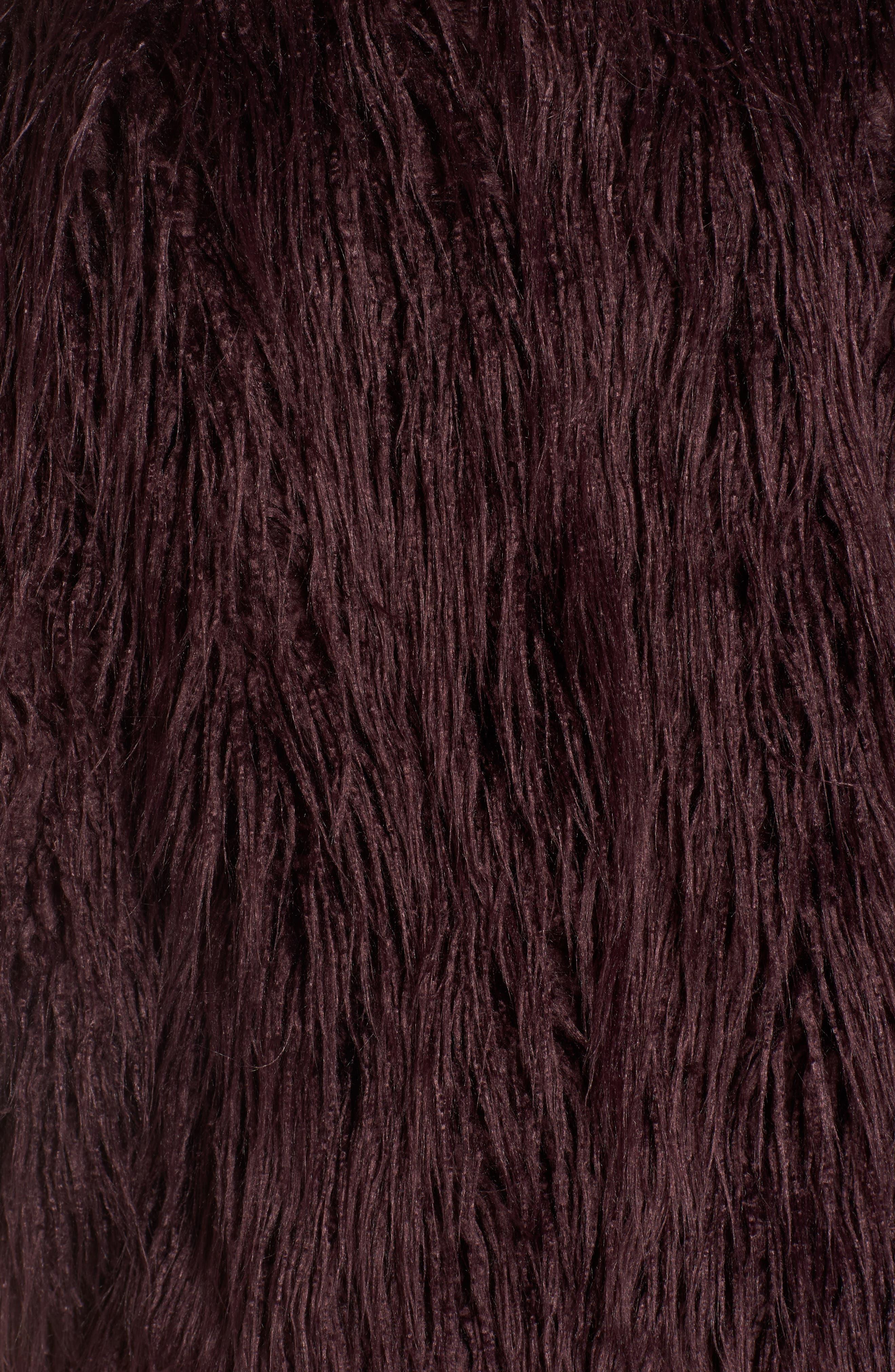 Shaggy Faux Fur Jacket,                             Alternate thumbnail 5, color,                             Burgundy Stem