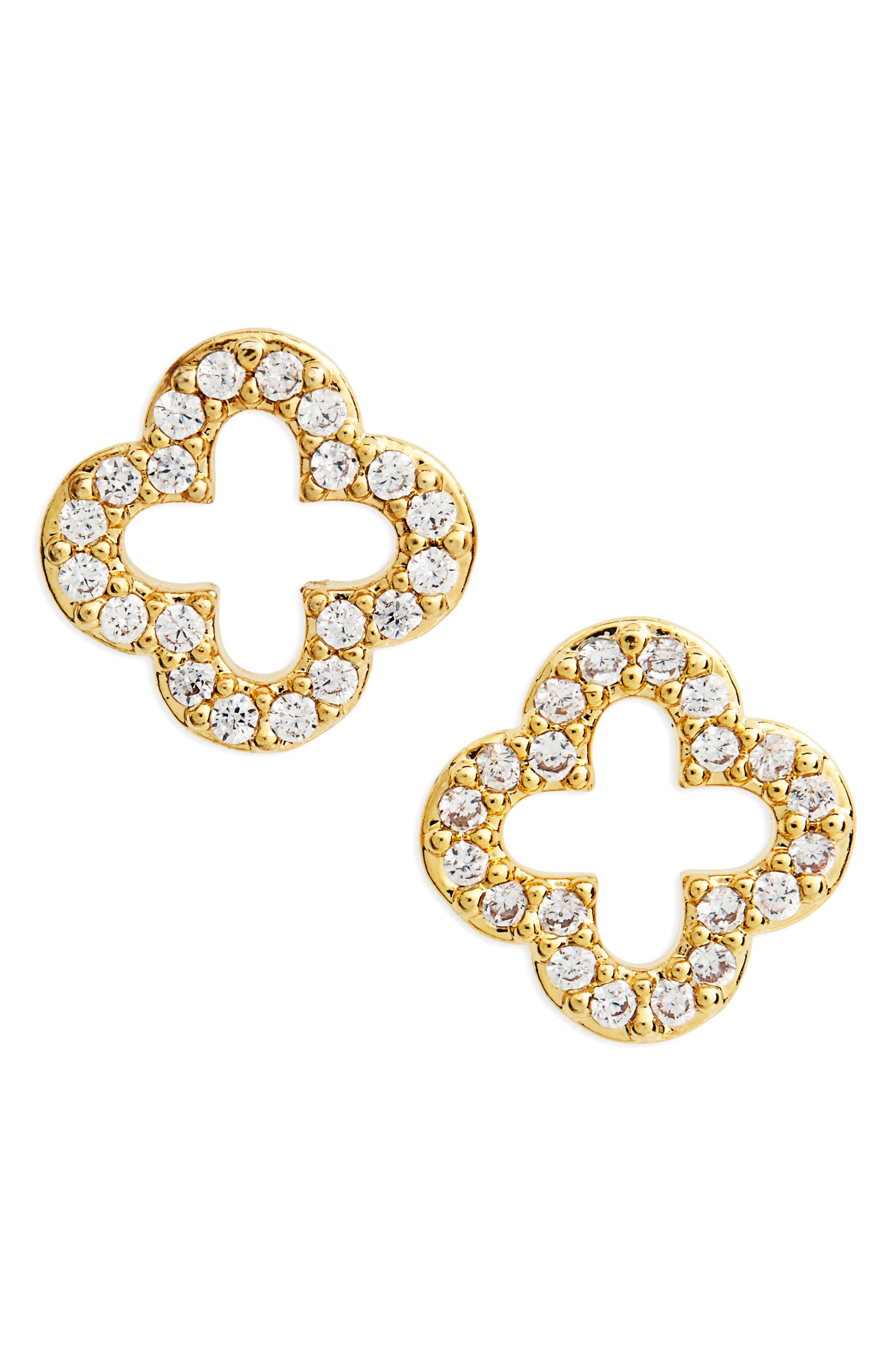BP. Crystal Leaf Stud Earrings