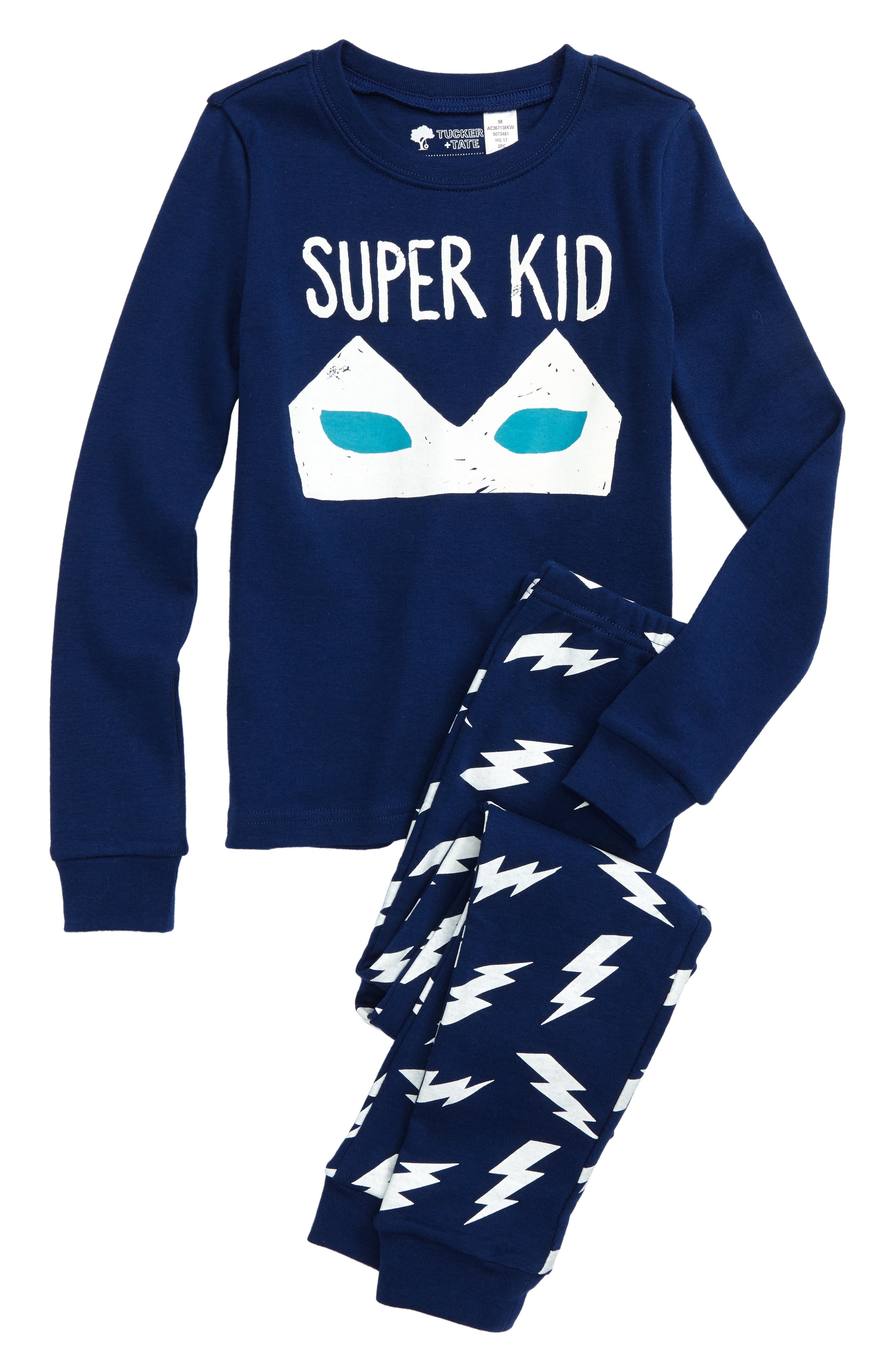 Super Kid Glow in the Dark Fitted Two-Piece Pajamas,                             Main thumbnail 1, color,                             Blue Estate Super Kid