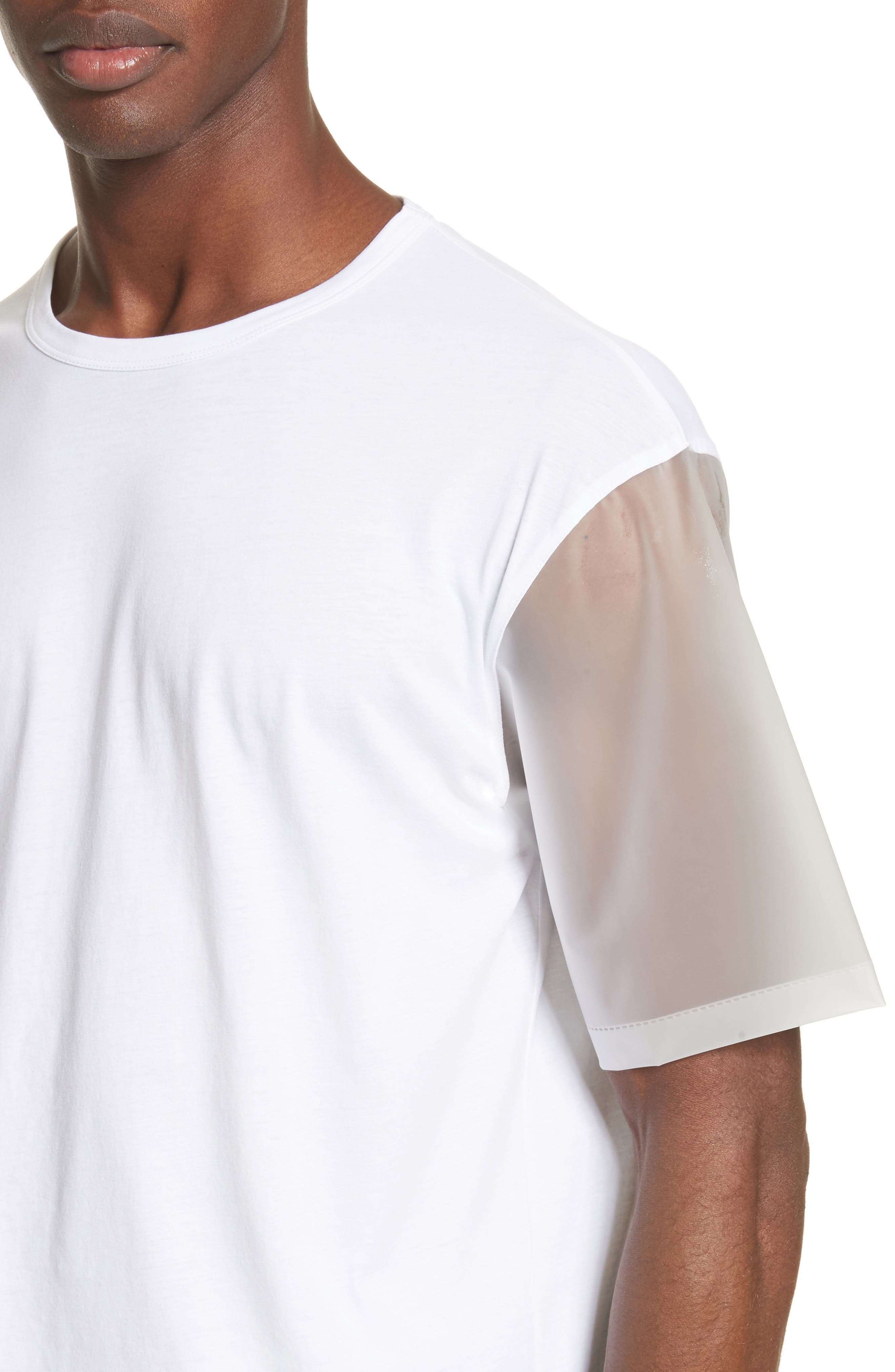 Plastic Sleeve T-Shirt,                             Alternate thumbnail 4, color,                             White