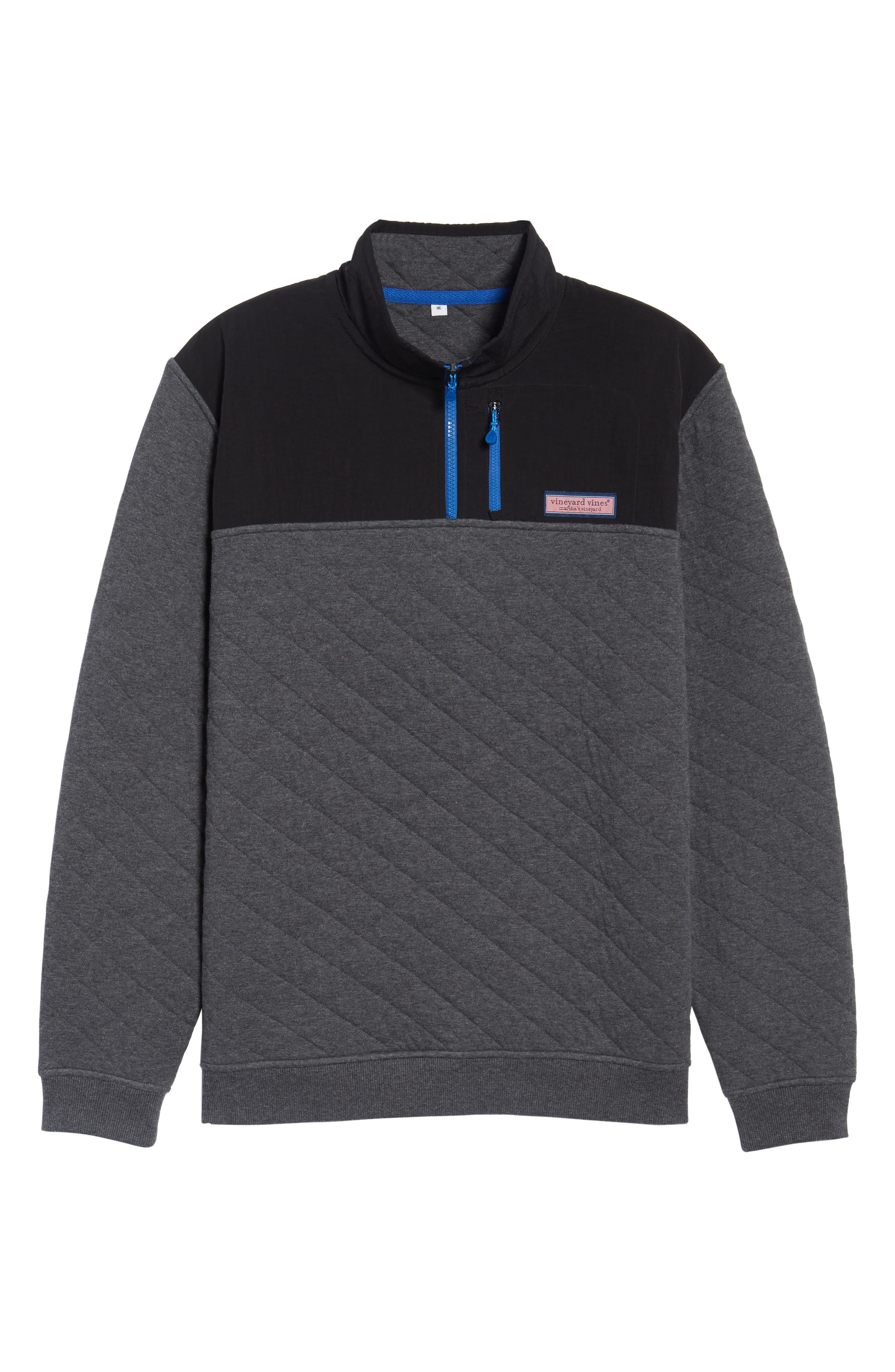 Quilted Quarter Zip Pullover,                             Alternate thumbnail 6, color,                             Charcoal Heather