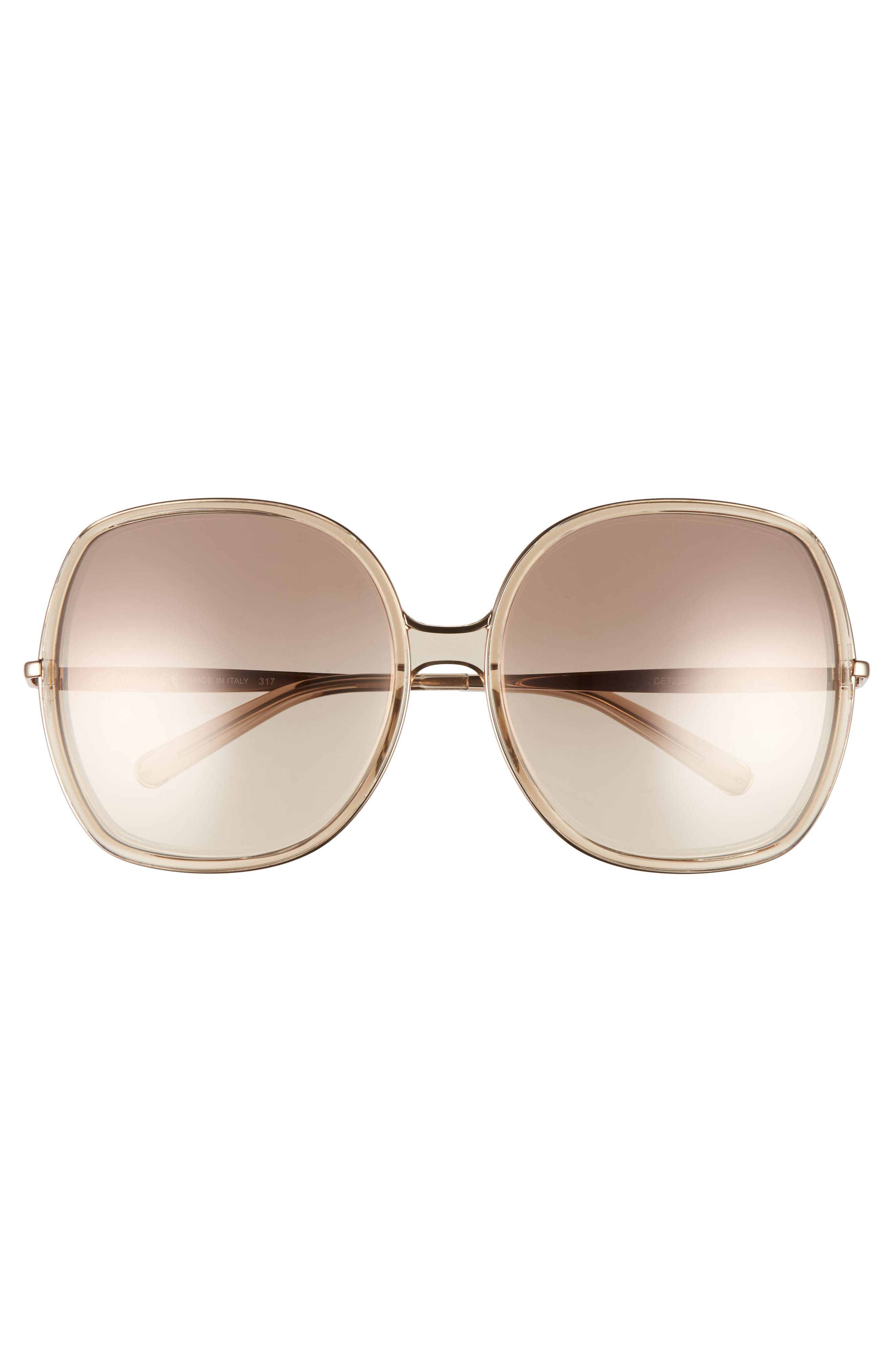 62mm Oversized Gradient Lens Square Sunglasses,                             Alternate thumbnail 3, color,                             Nude