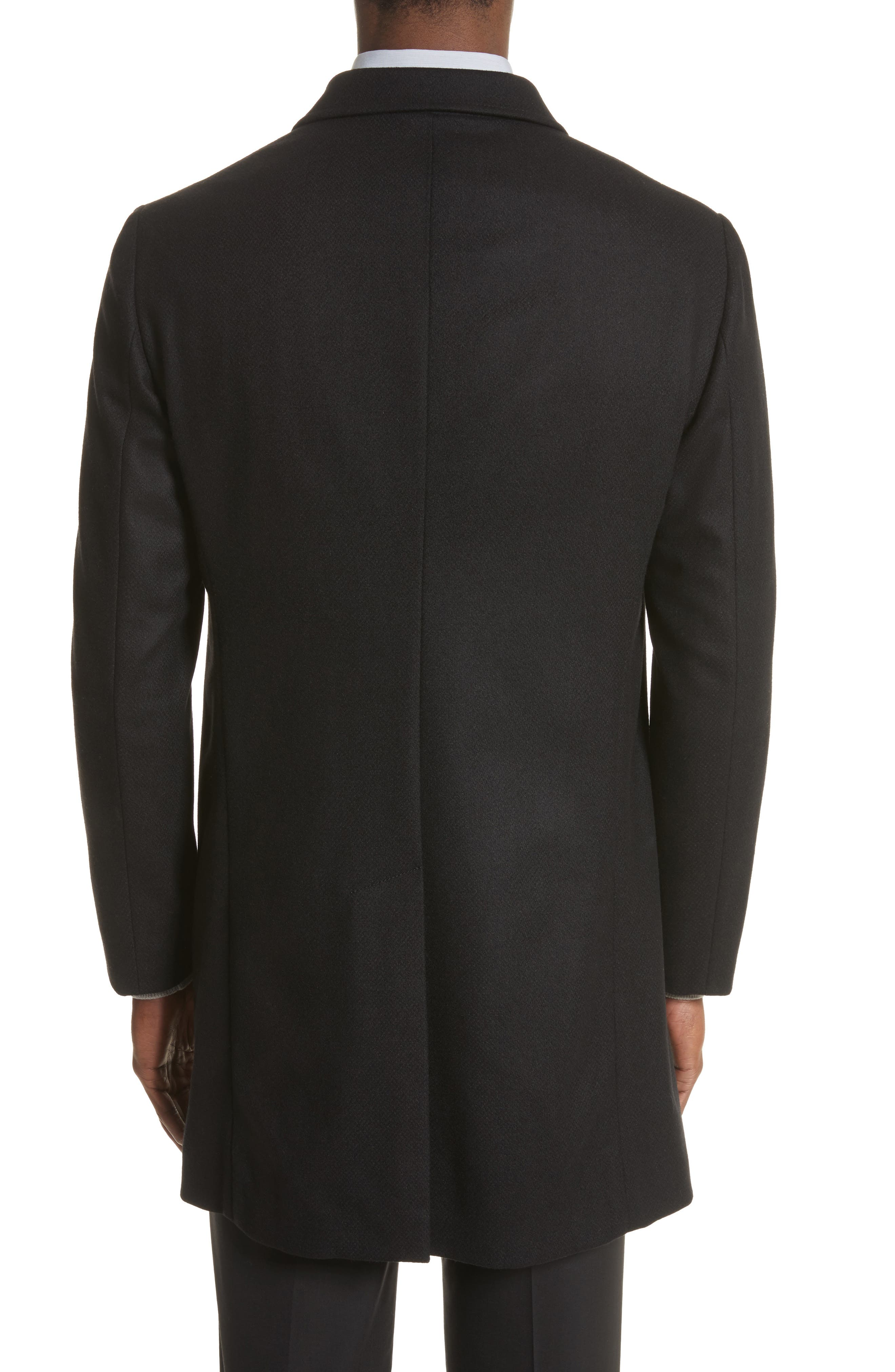 Double-Breasted Wool Topcoat,                             Alternate thumbnail 2, color,                             Black
