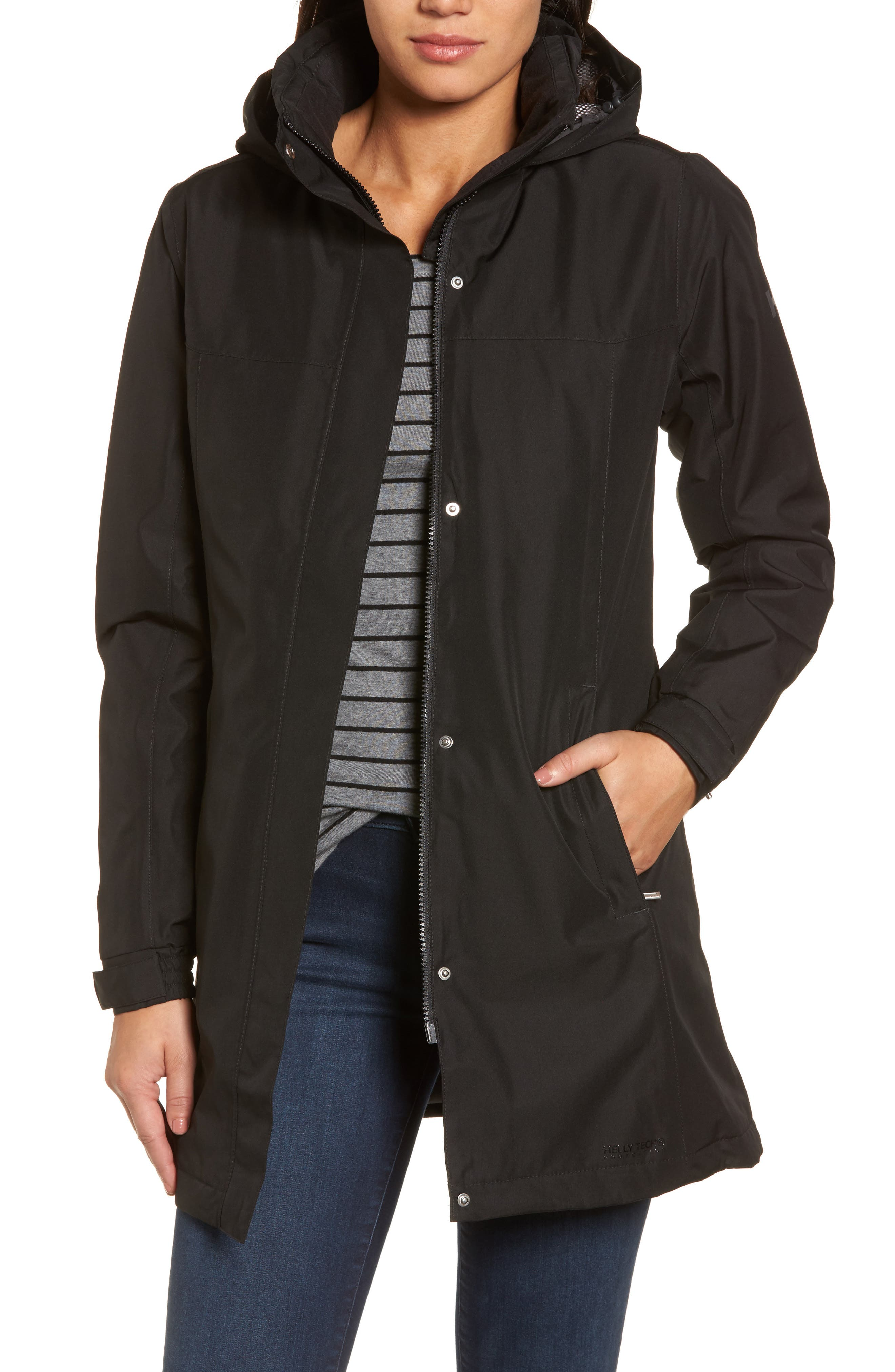 Aden Hooded Insulated Rain Jacket,                         Main,                         color, Black