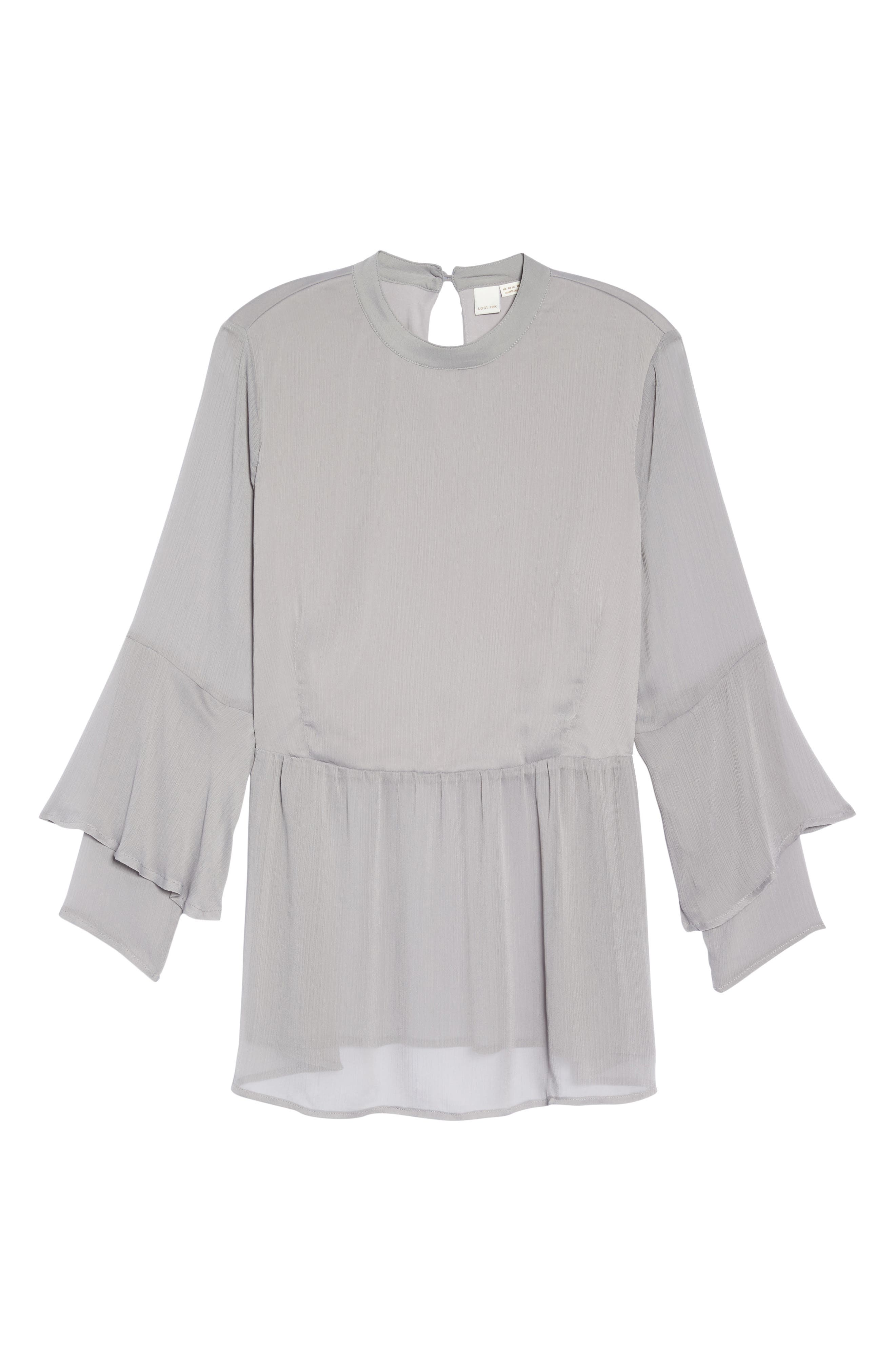 Crinkled Chiffon Top,                             Alternate thumbnail 6, color,                             Grey