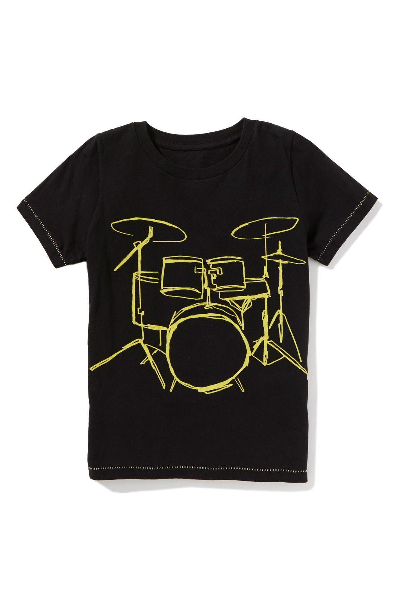 Alternate Image 1 Selected - Peek Drummer Wanted Graphic T-Shirt (Toddler Boys, Little Boys & Big Boys)