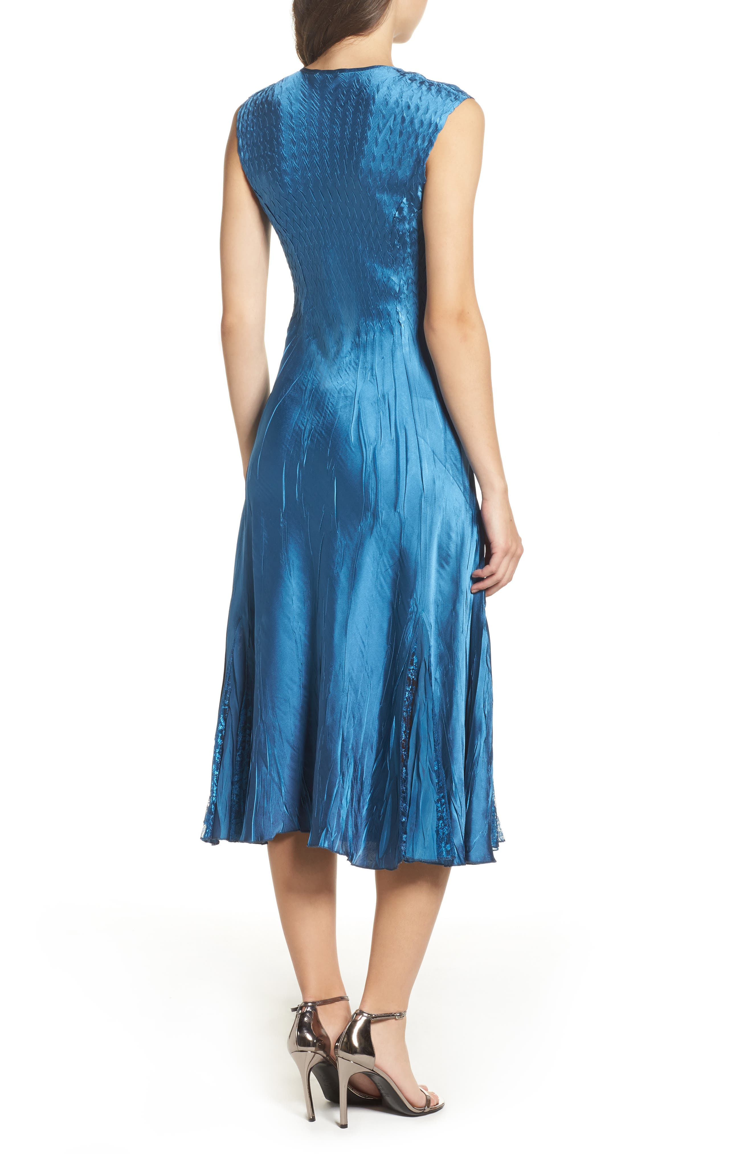 Lace & Charmeuse Dress with Jacket,                             Alternate thumbnail 3, color,                             Blue Dusk Night Ombre