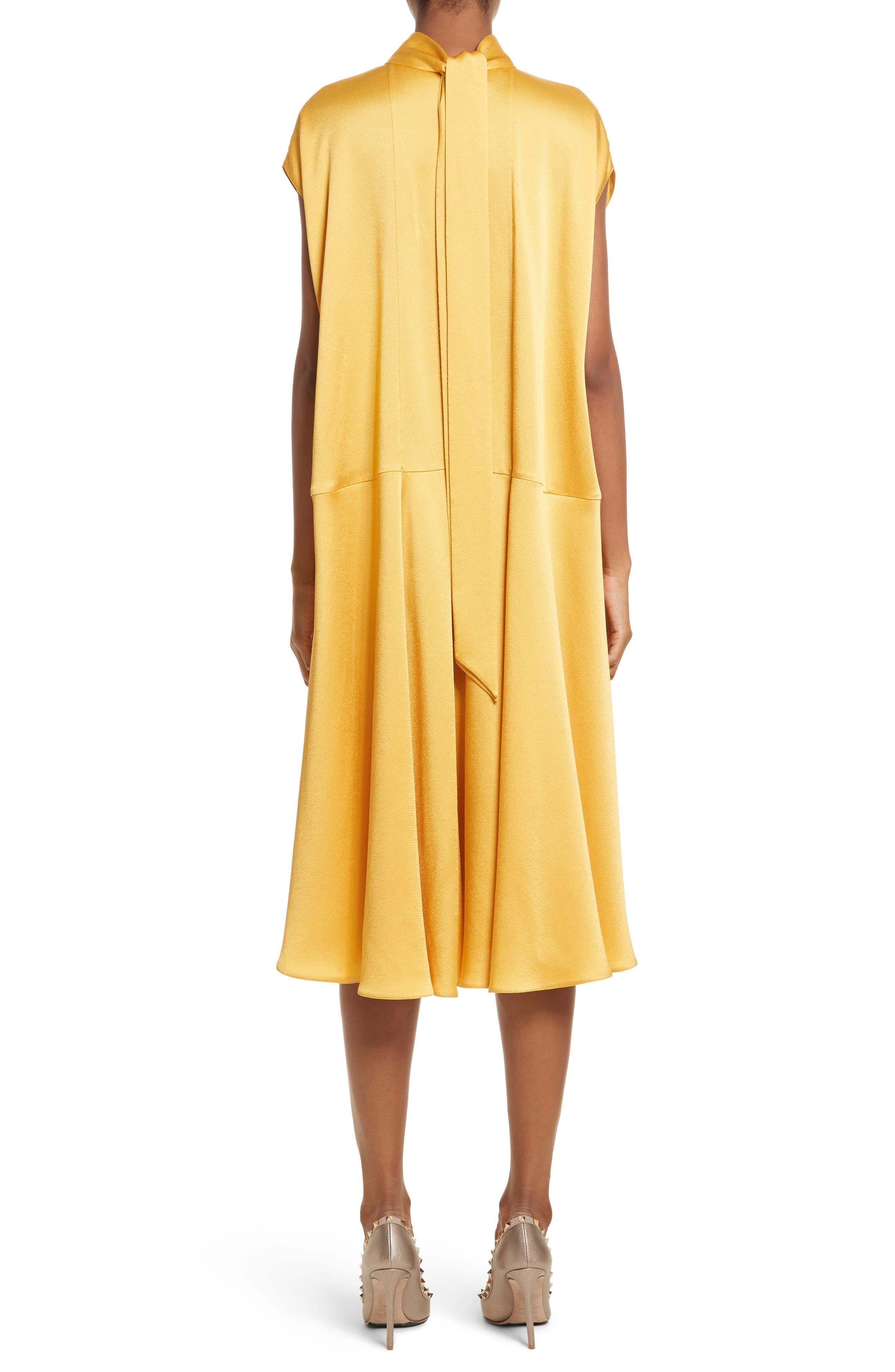 Hammered Satin Midi Dress,                             Alternate thumbnail 2, color,                             Canary Yellow