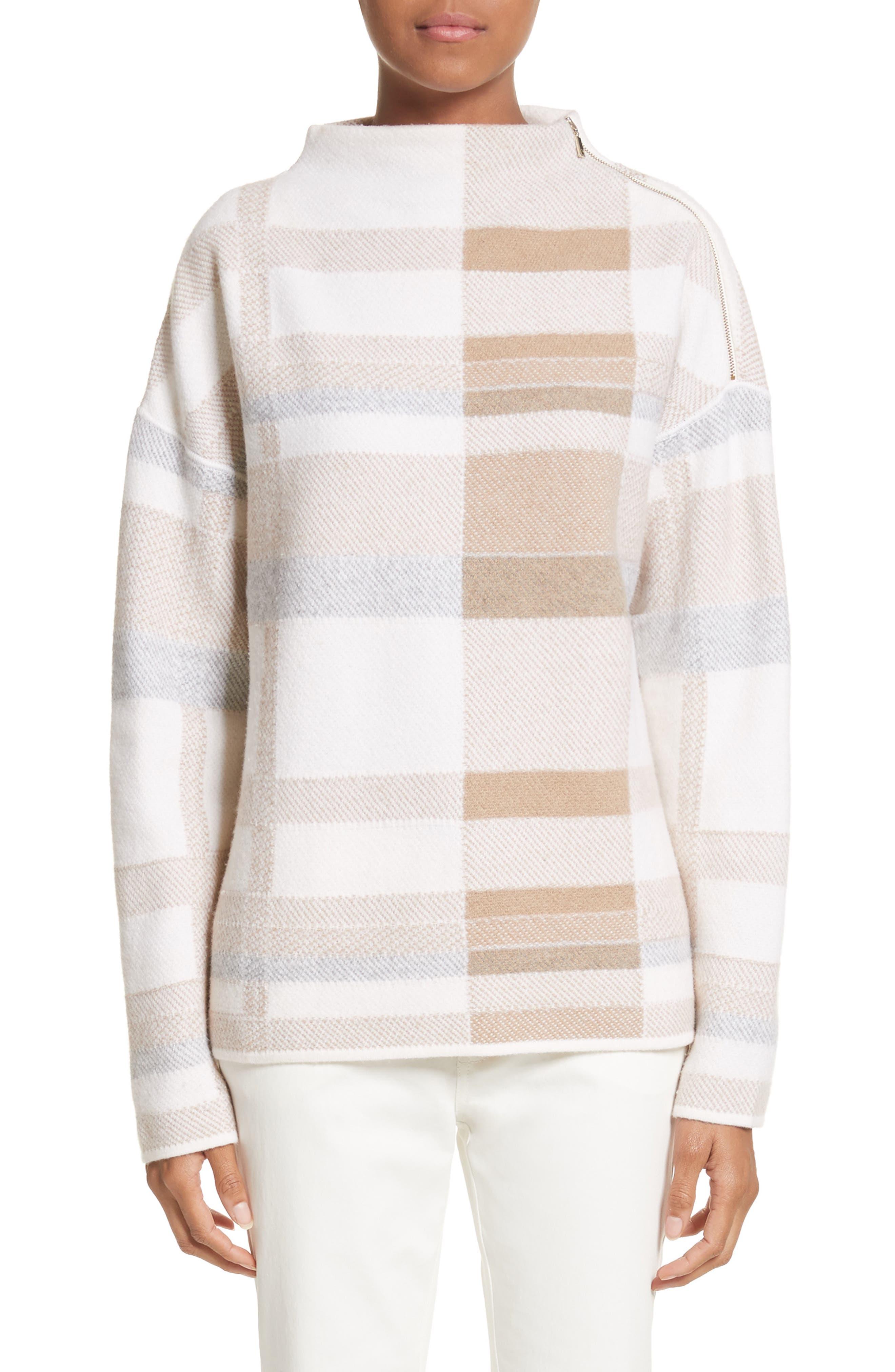 Lafayette 148 New York Plaid Intarsia Turtleneck Sweater
