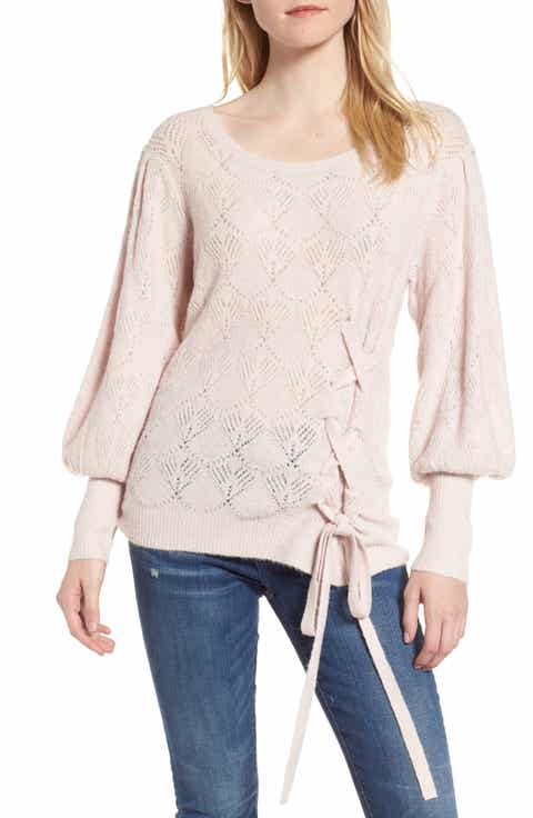 Chelsea28 Tied Pointelle Knit Sweater