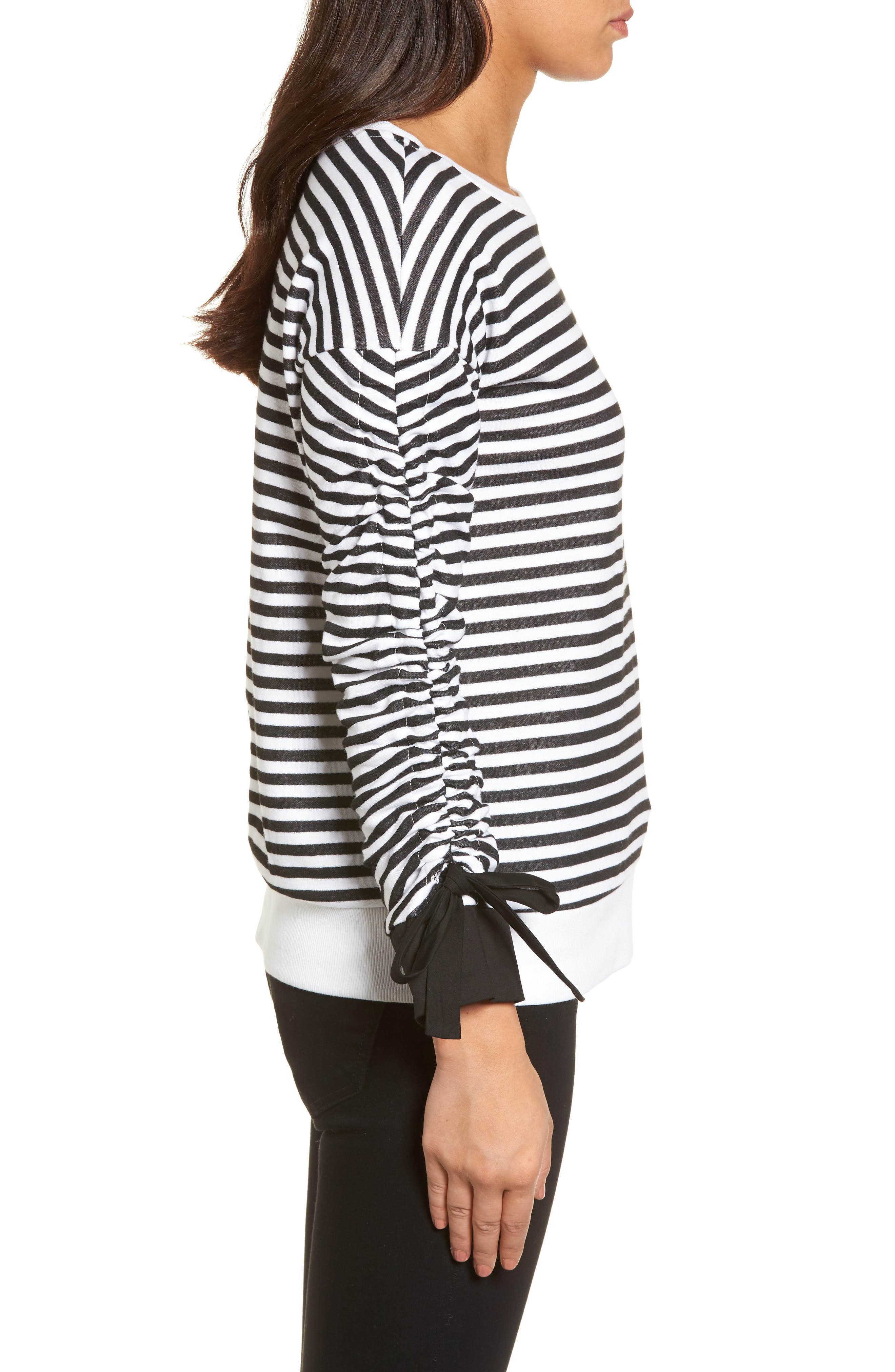 Ruched Sleeve Poplin Trim Sweatshirt,                             Alternate thumbnail 3, color,                             Black- White Stripe