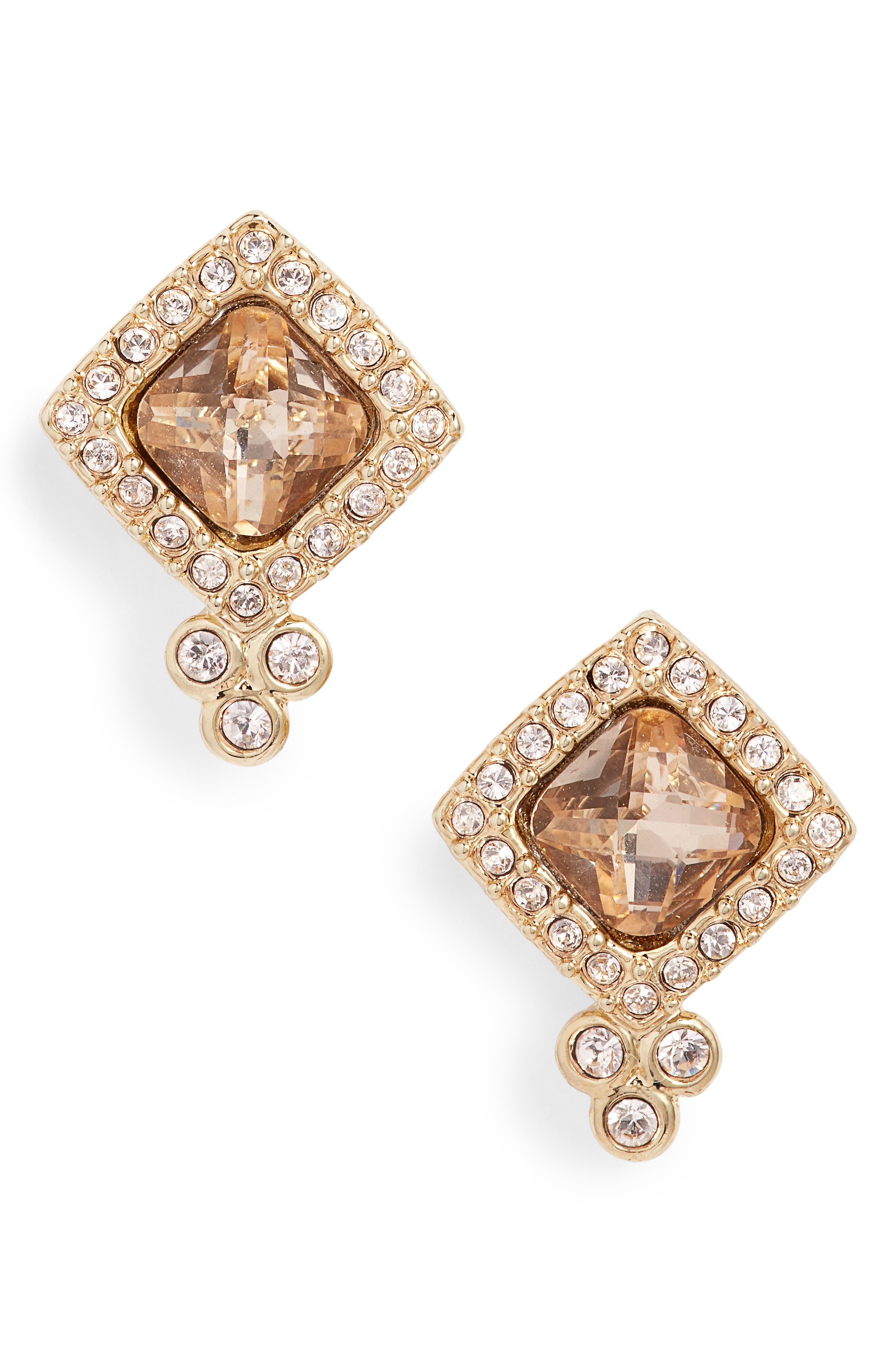 Crystal Stud Earrings,                         Main,                         color, Champagne/ Gold