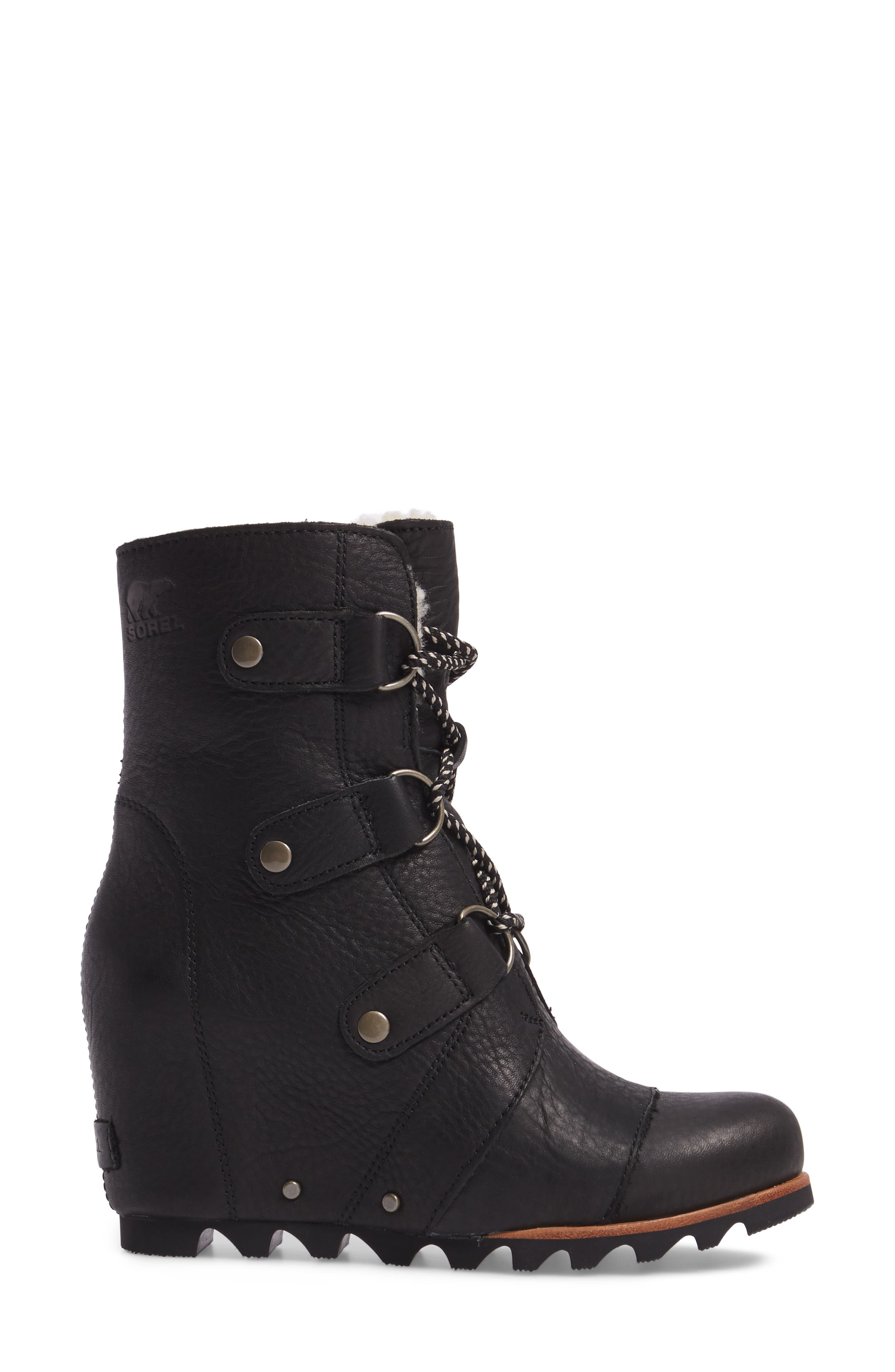 Joan of Arctic Wedge Genuine Shearling Bootie,                             Alternate thumbnail 3, color,                             Black/ Ancient