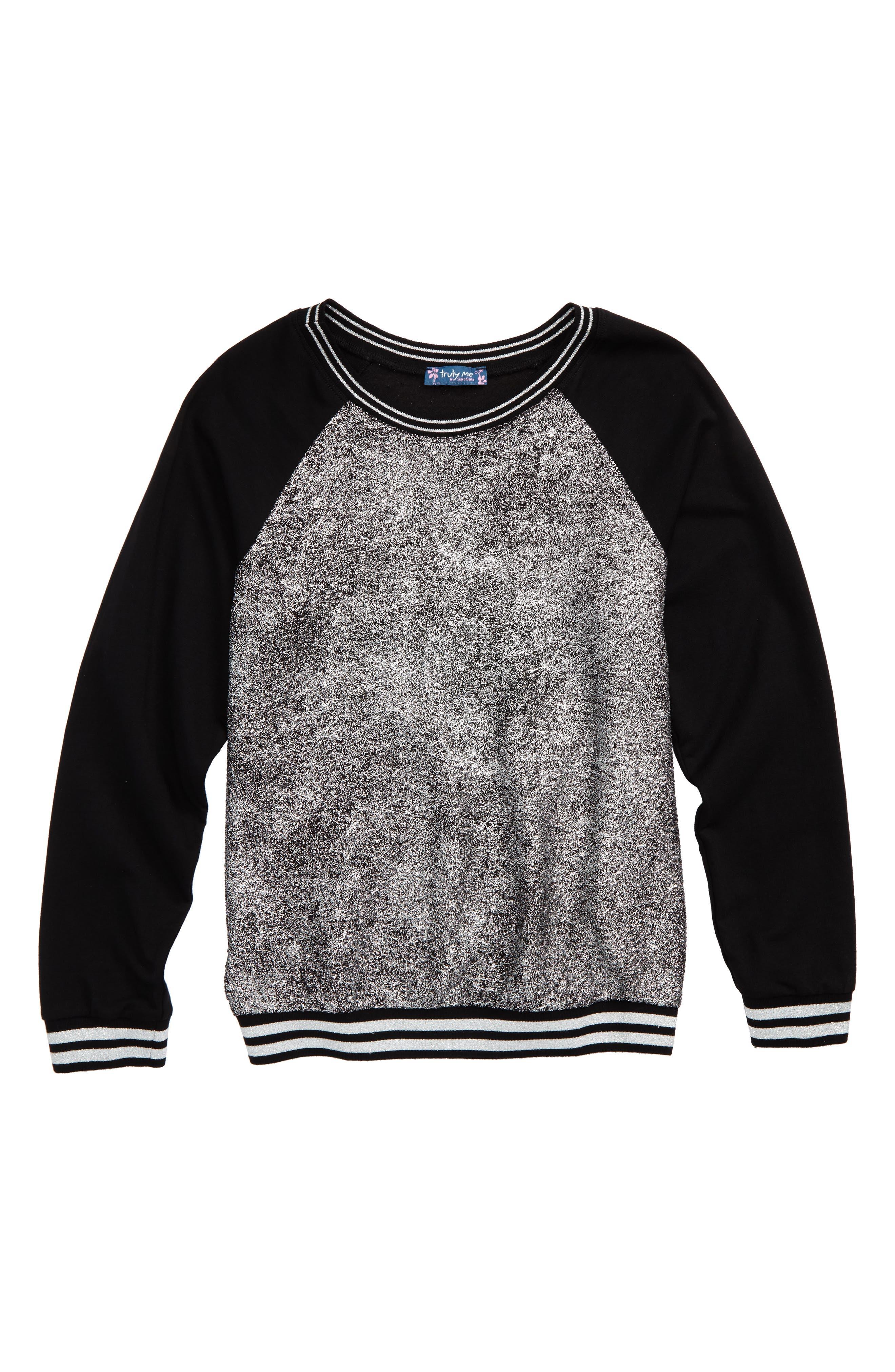 Metallic Sweatshirt,                         Main,                         color, Black/ Silver