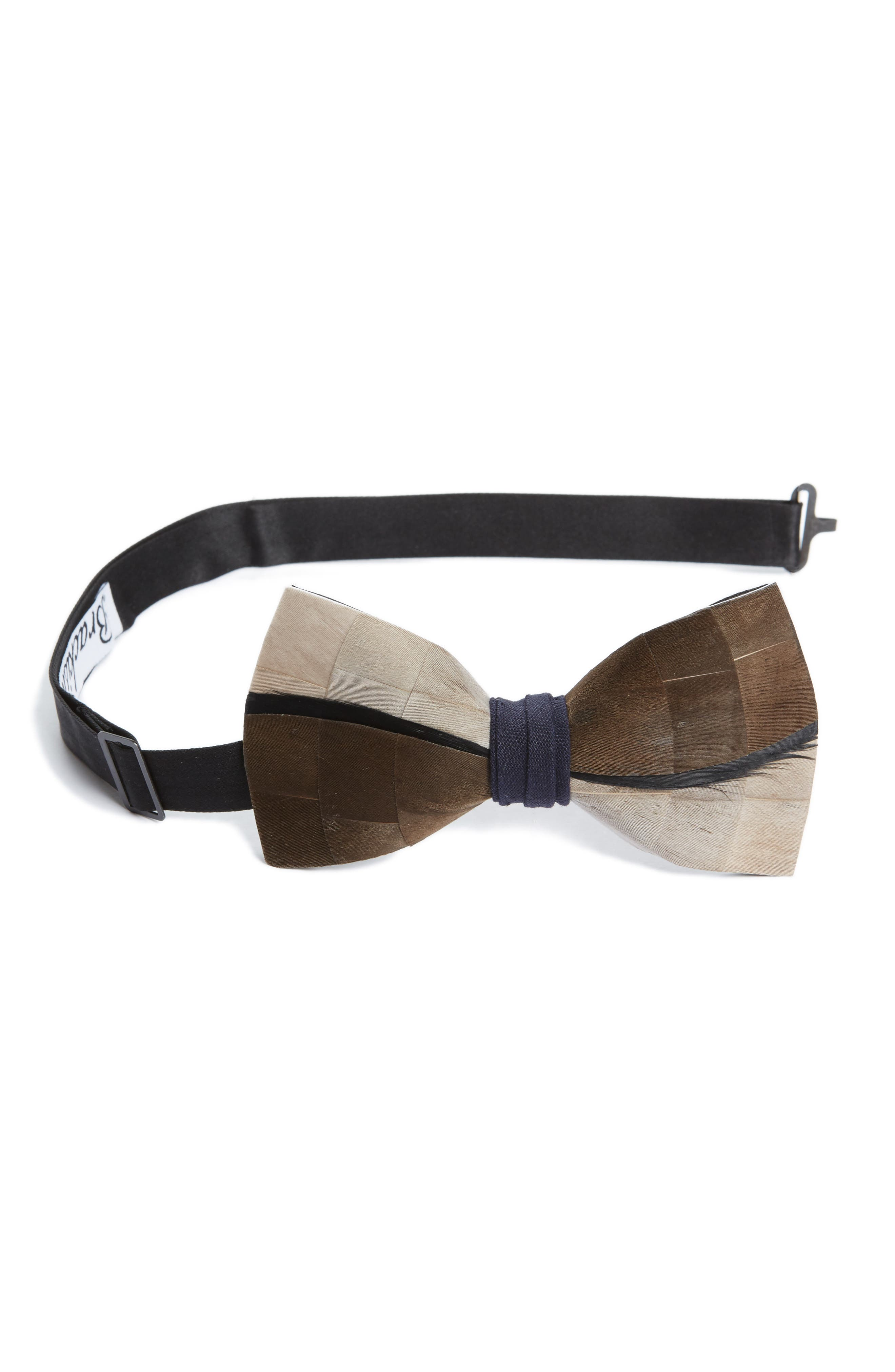 Brackish & Bell Kiawah Feather Bow Tie,                         Main,                         color, Grey/ Brown