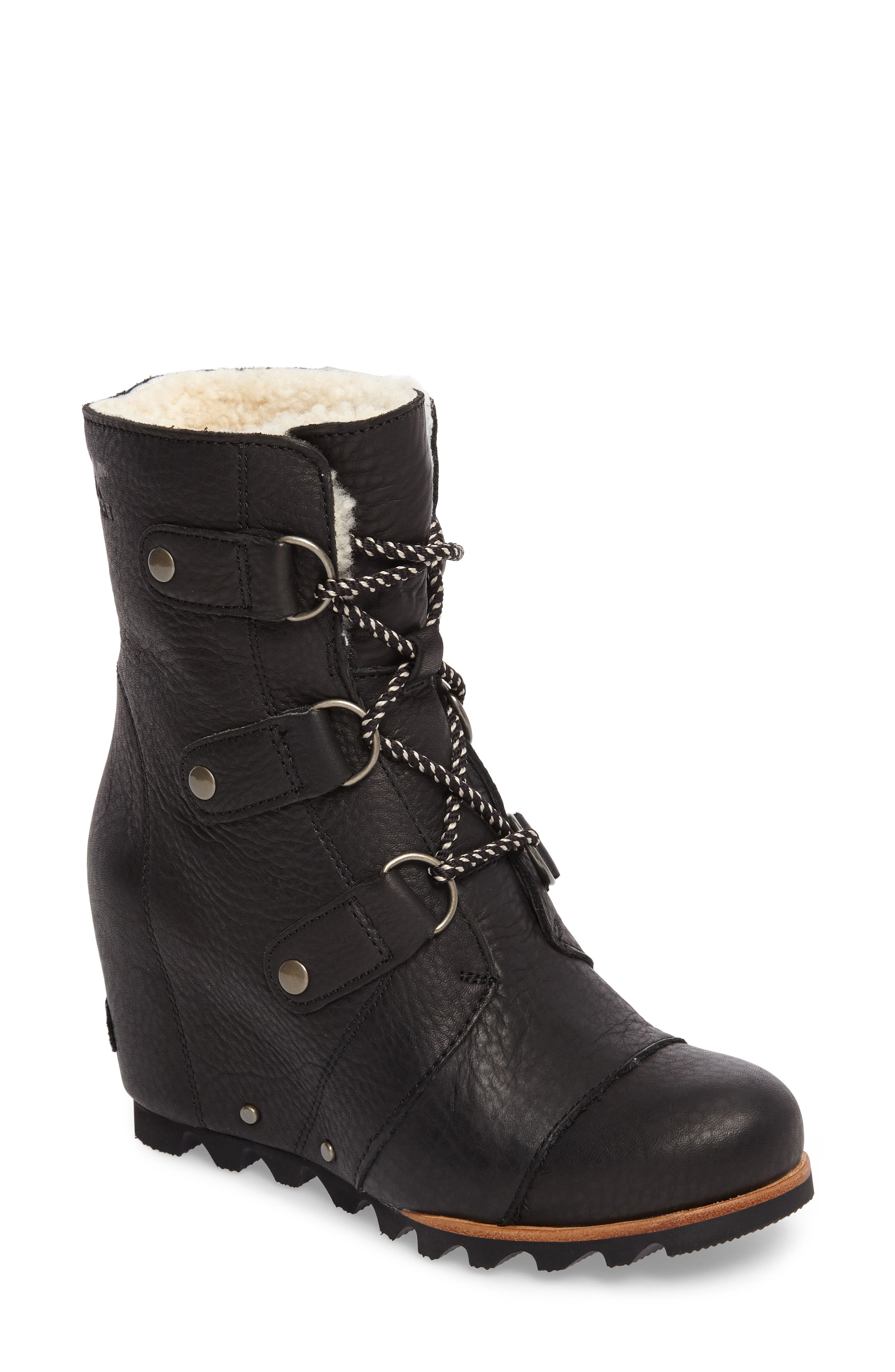 Joan of Arctic Wedge Genuine Shearling Bootie,                             Main thumbnail 1, color,                             Black/ Ancient