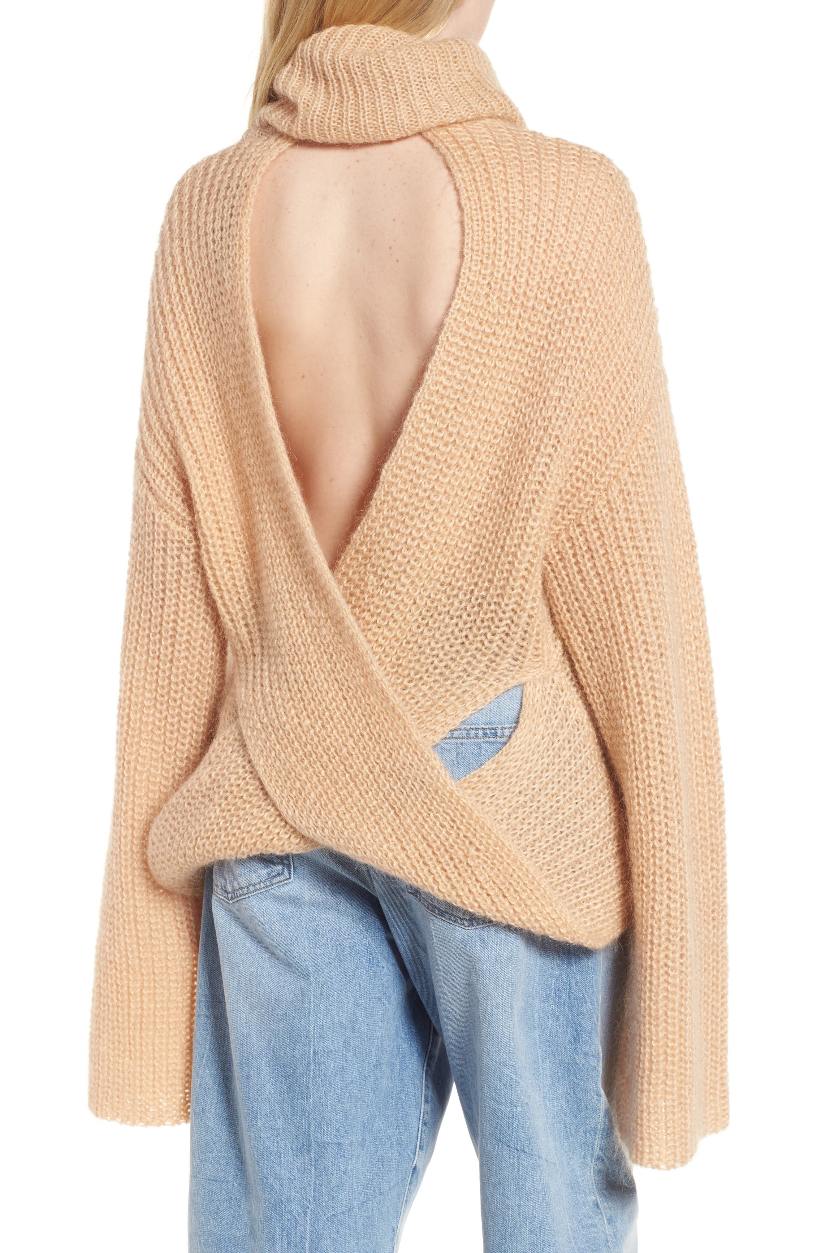 Cross Back Turtleneck Sweater,                             Alternate thumbnail 2, color,                             Toasted Almond