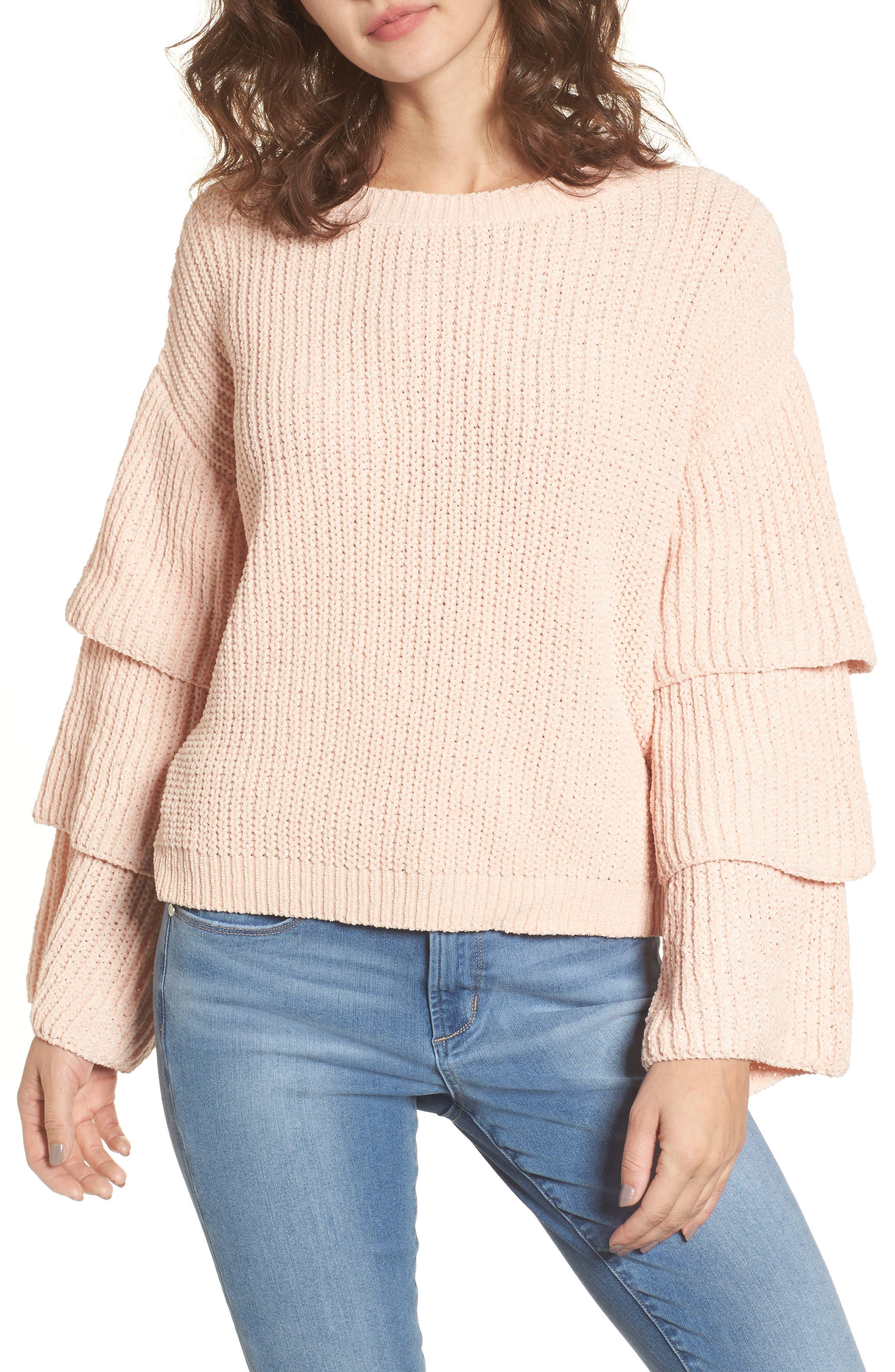Woven Heart Triple Ruffle Sweater