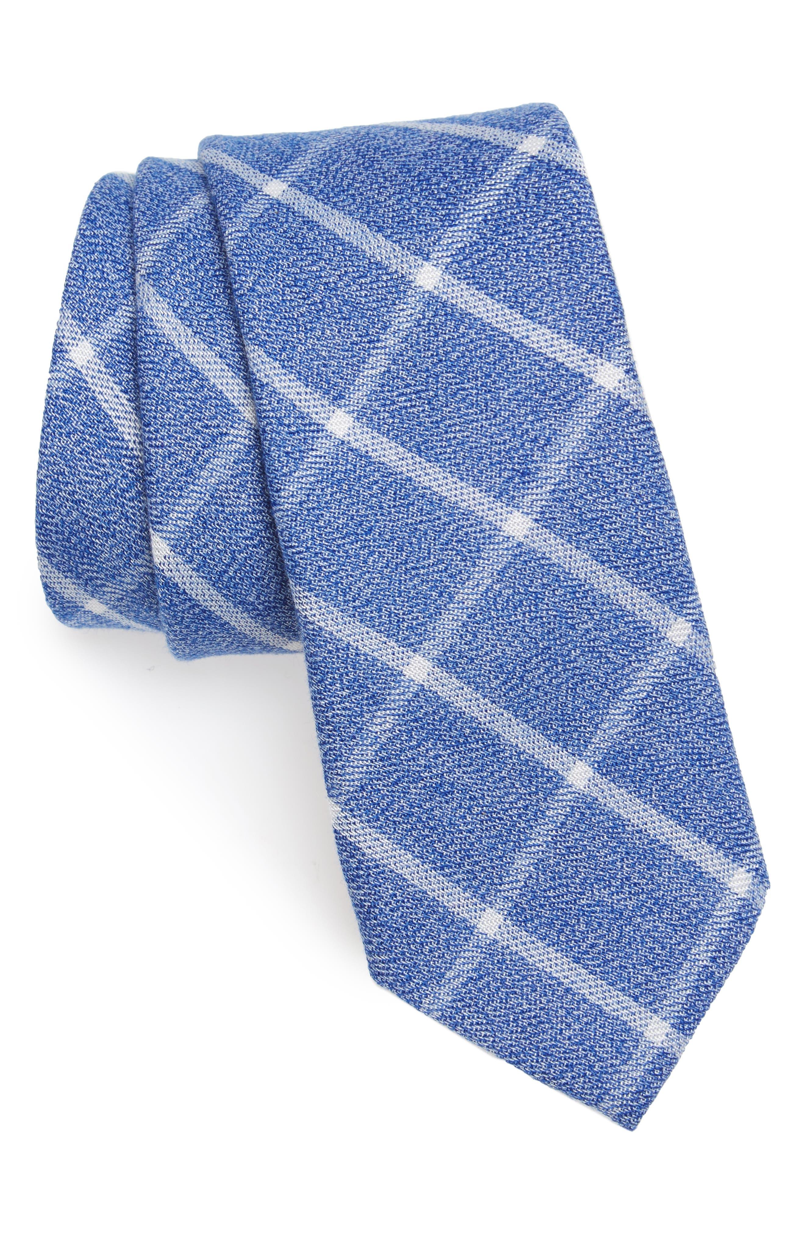 Wilbur Check Cotton Tie,                         Main,                         color, Navy