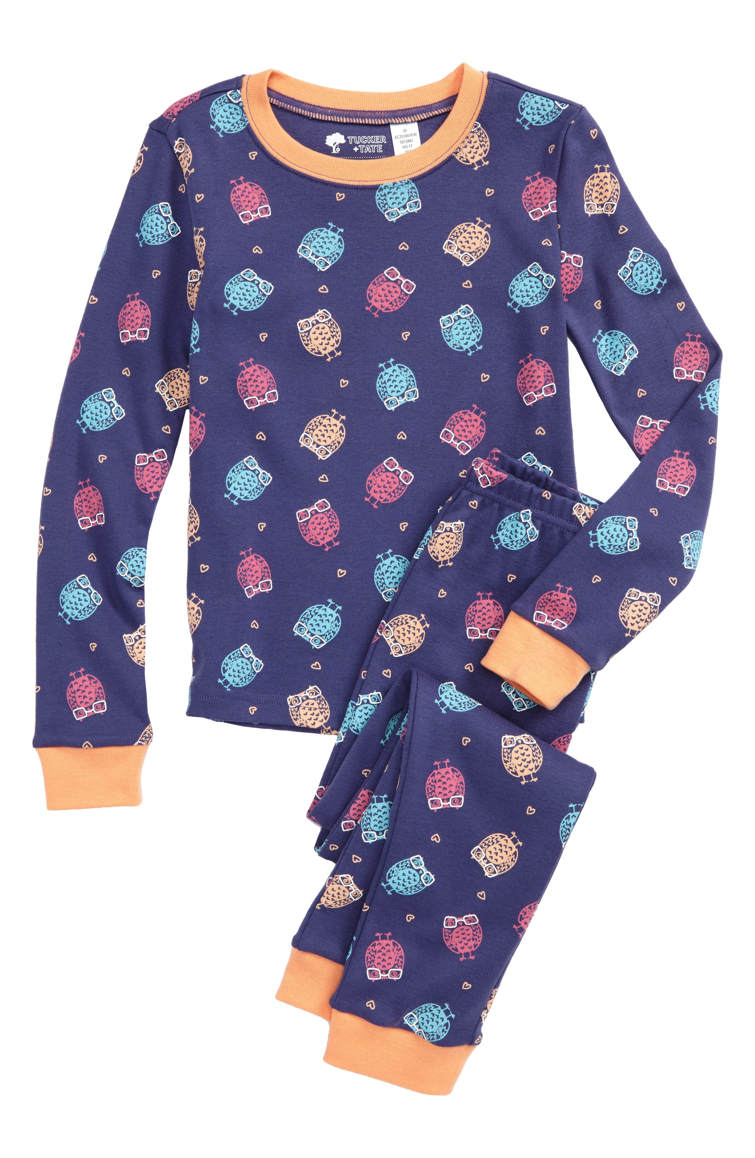Fitted Two-Piece Pajamas,                         Main,                         color, Navy Skipper Owls