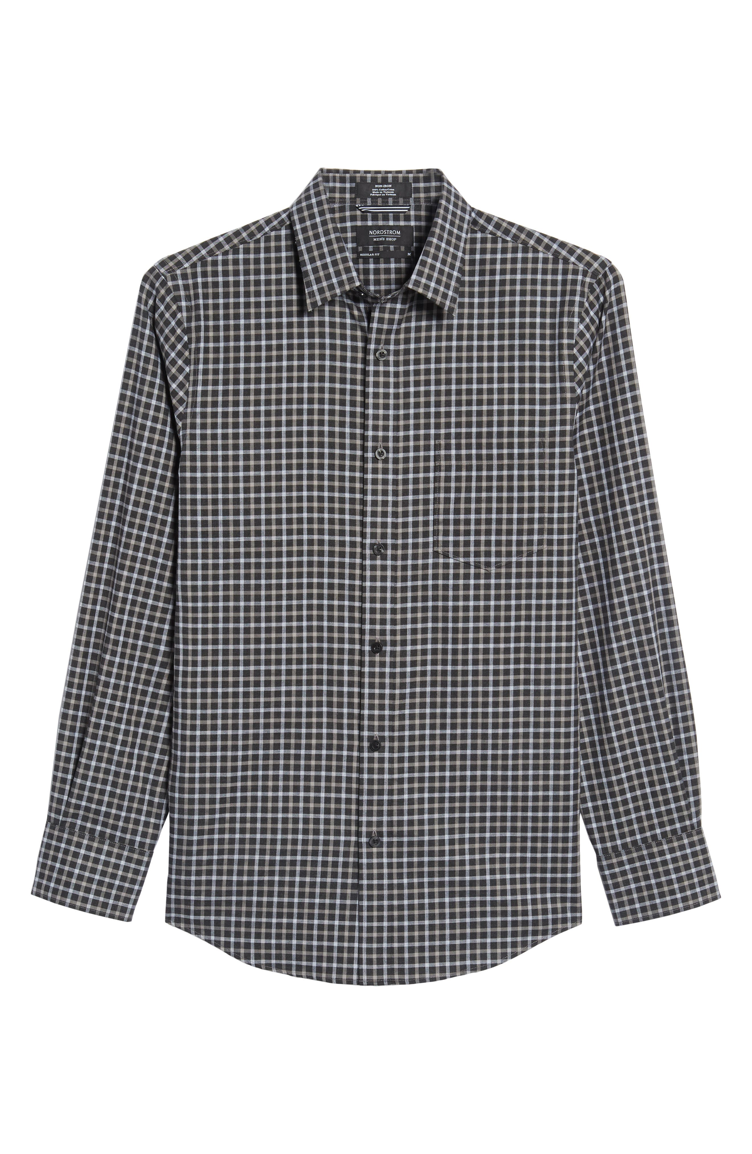 Regular Fit Non-Iron Check Sport Shirt,                             Alternate thumbnail 6, color,                             Black Caviar Grey Check