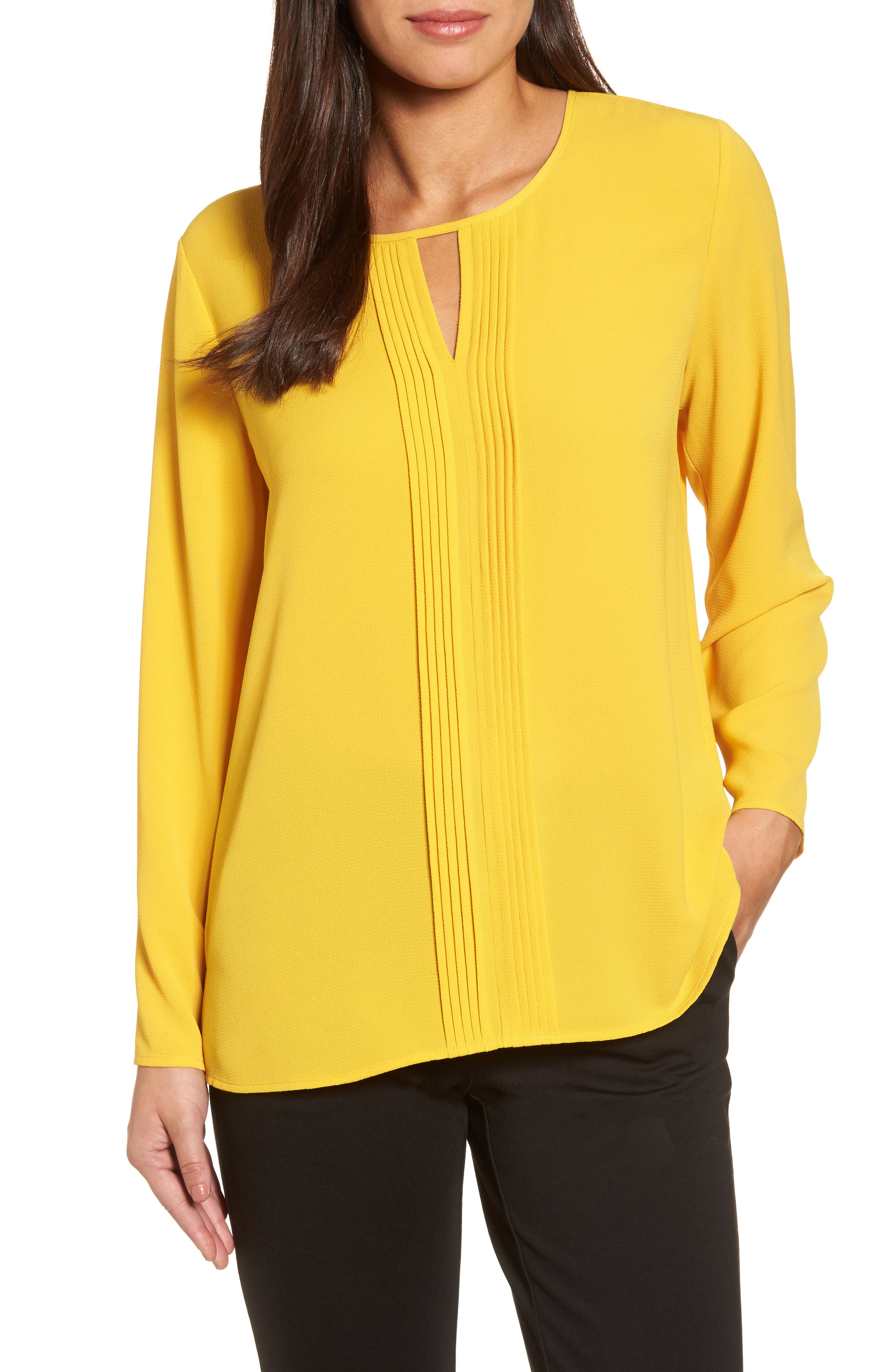 Pintuck Front Blouse,                         Main,                         color, Honeycomb