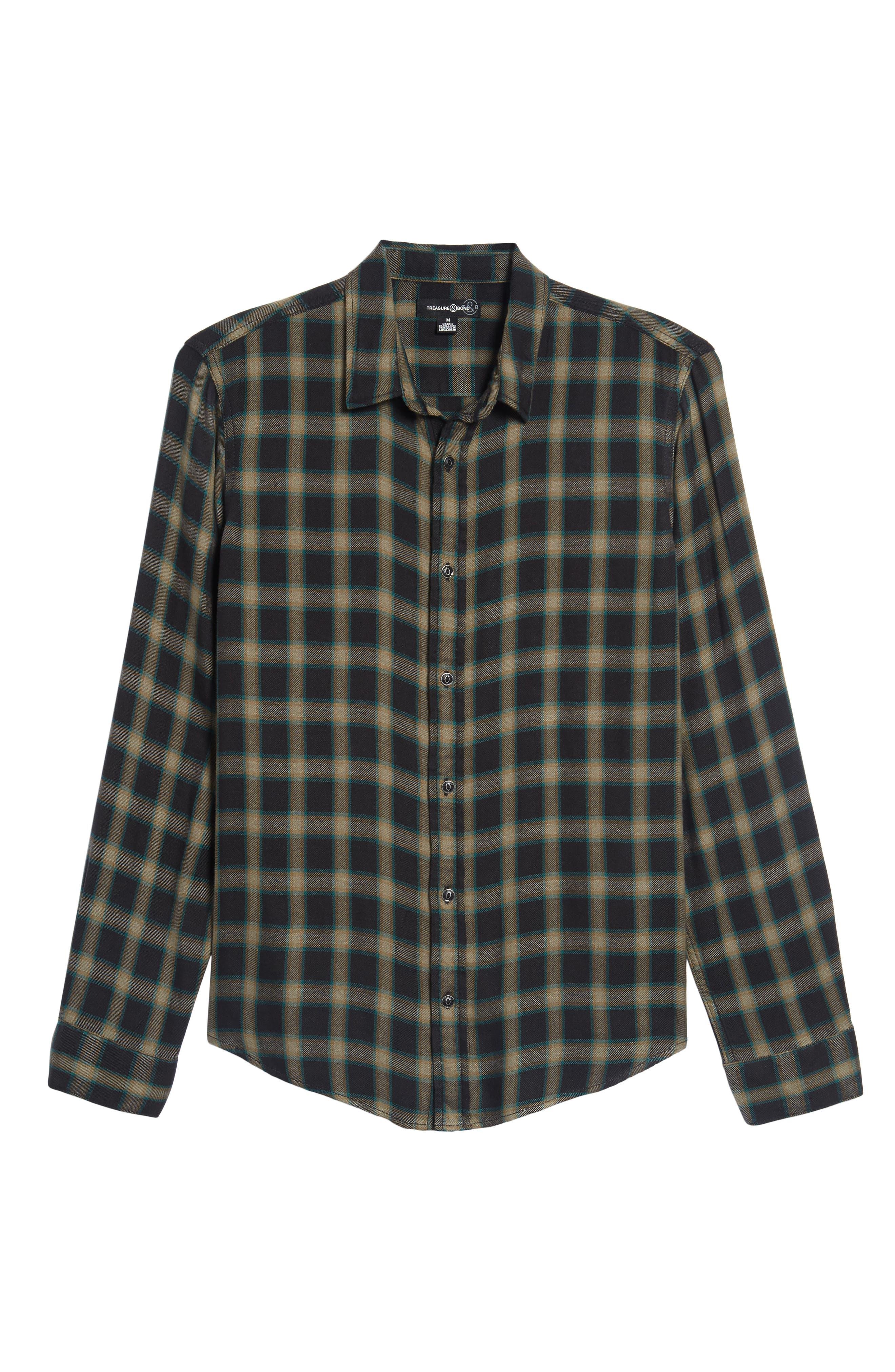 Virgil Plaid Sport Shirt,                             Alternate thumbnail 6, color,                             Black Rock Green Edocha Plaid