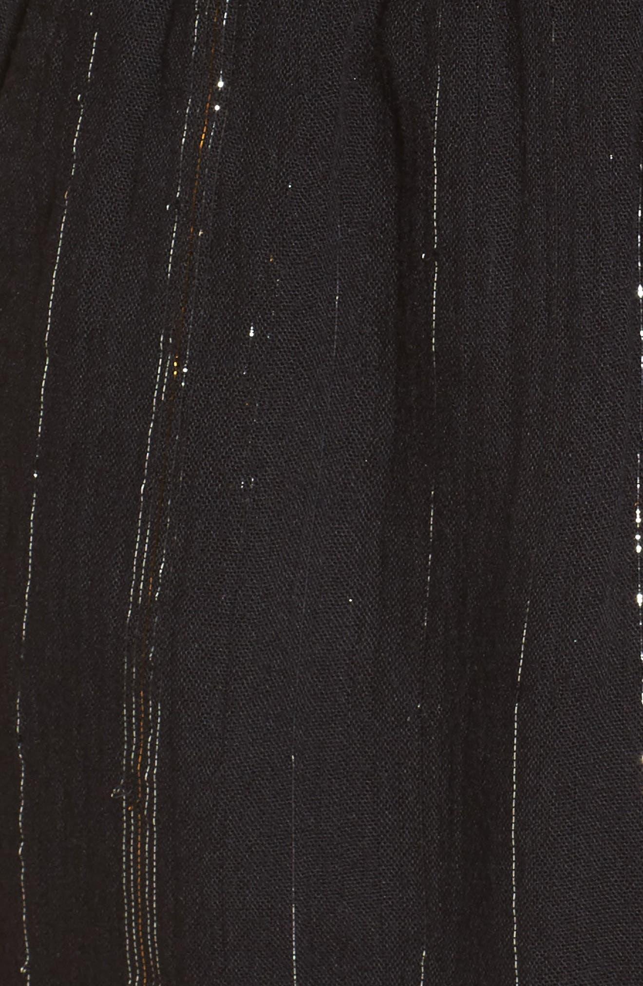 Hook It Up Metallic Stripe Romper,                             Alternate thumbnail 6, color,                             Black
