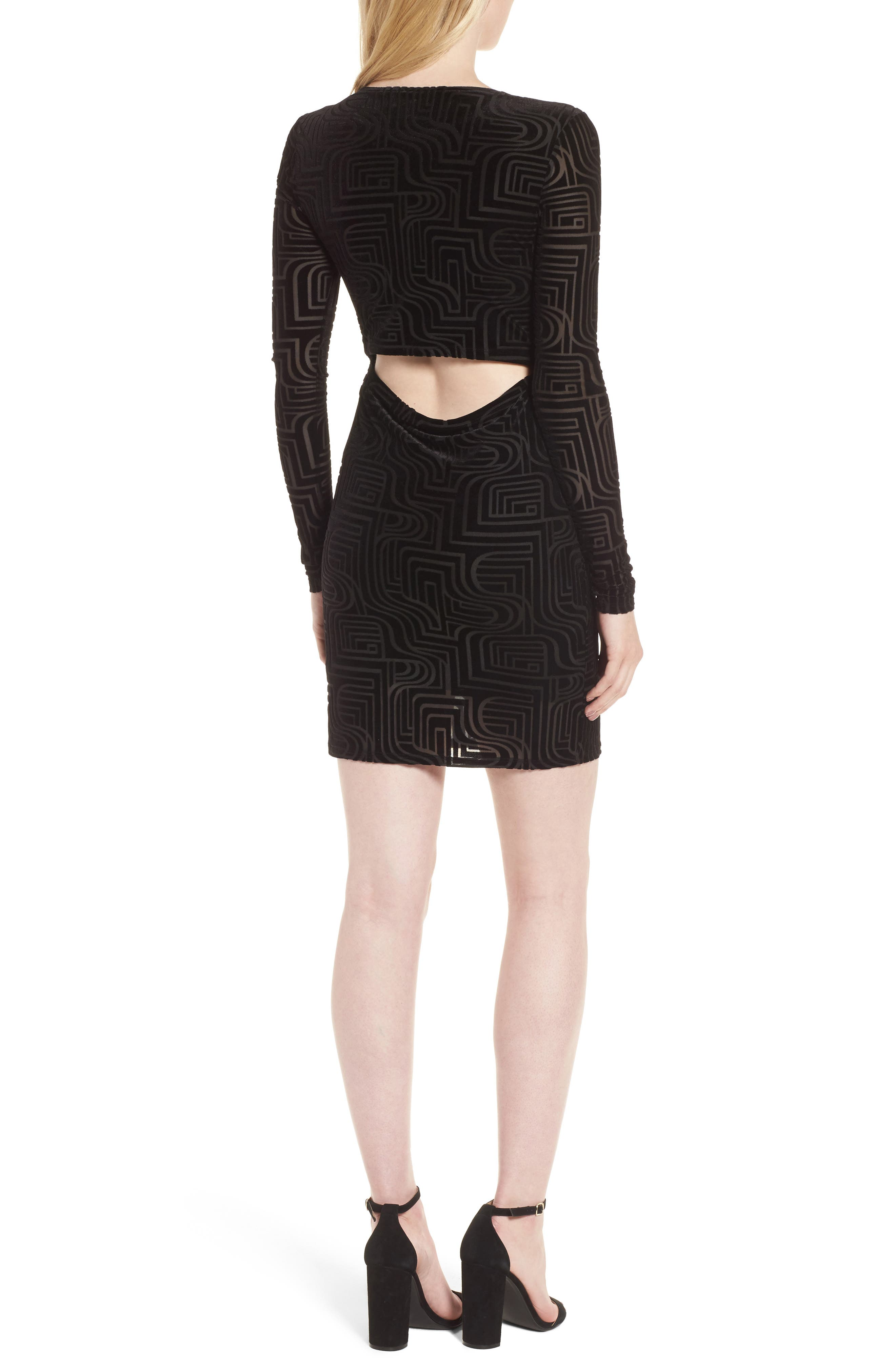 Burnout Velvet Sheath Dress,                             Alternate thumbnail 2, color,                             Black