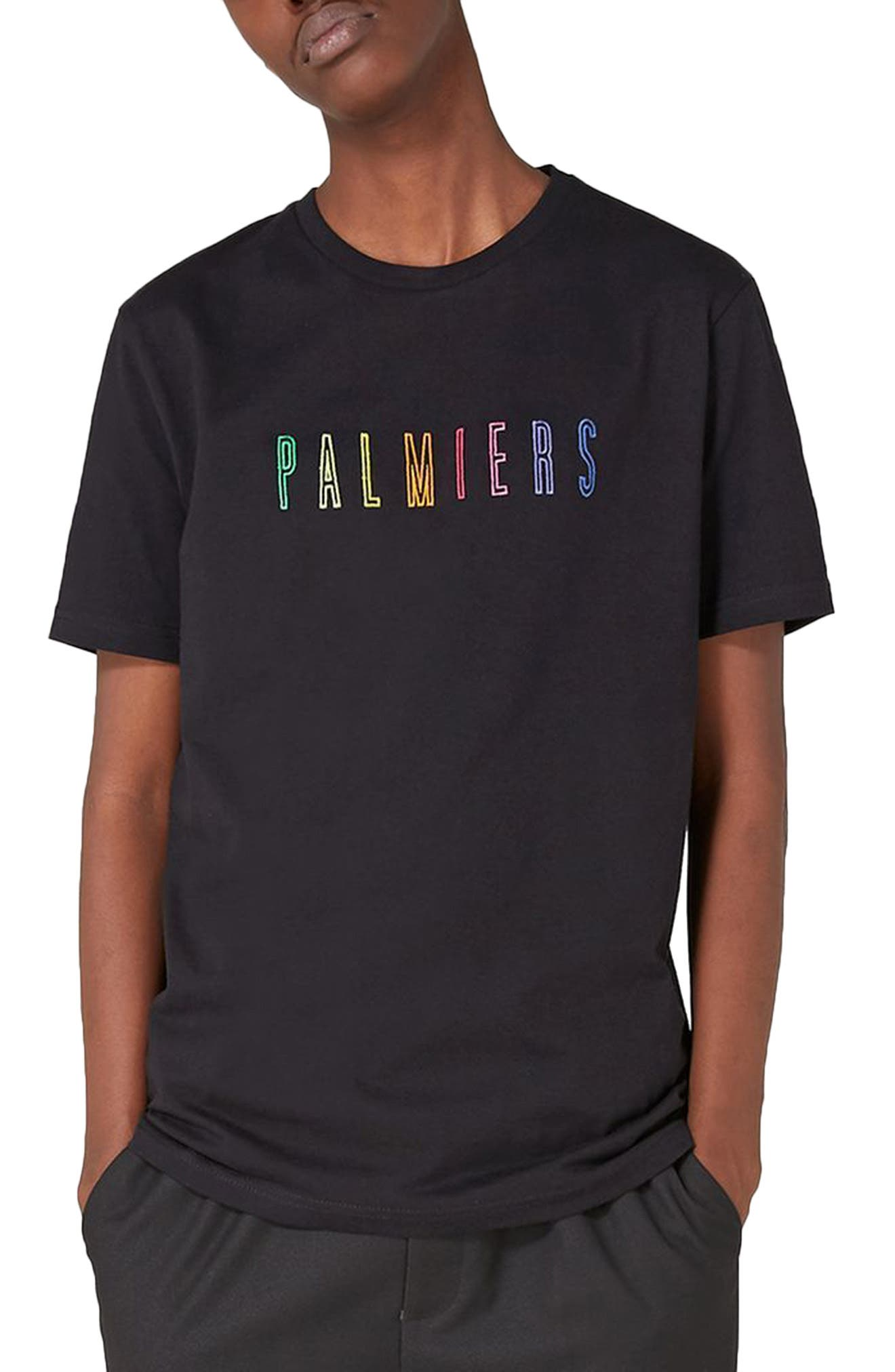 Palmiers Embroidered T-Shirt,                         Main,                         color, Black