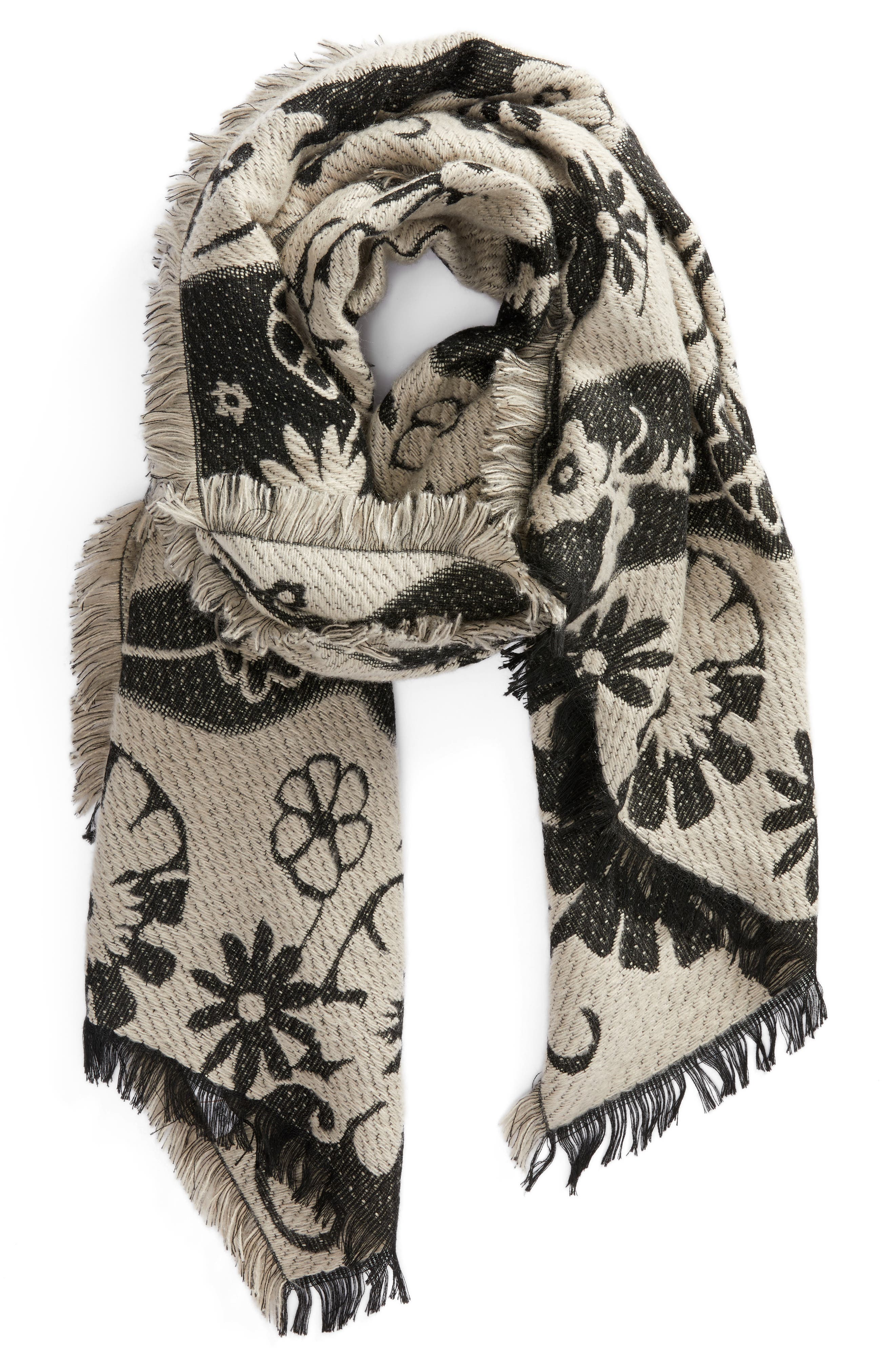 Floral Scarf,                             Alternate thumbnail 2, color,                             Ivory Combo