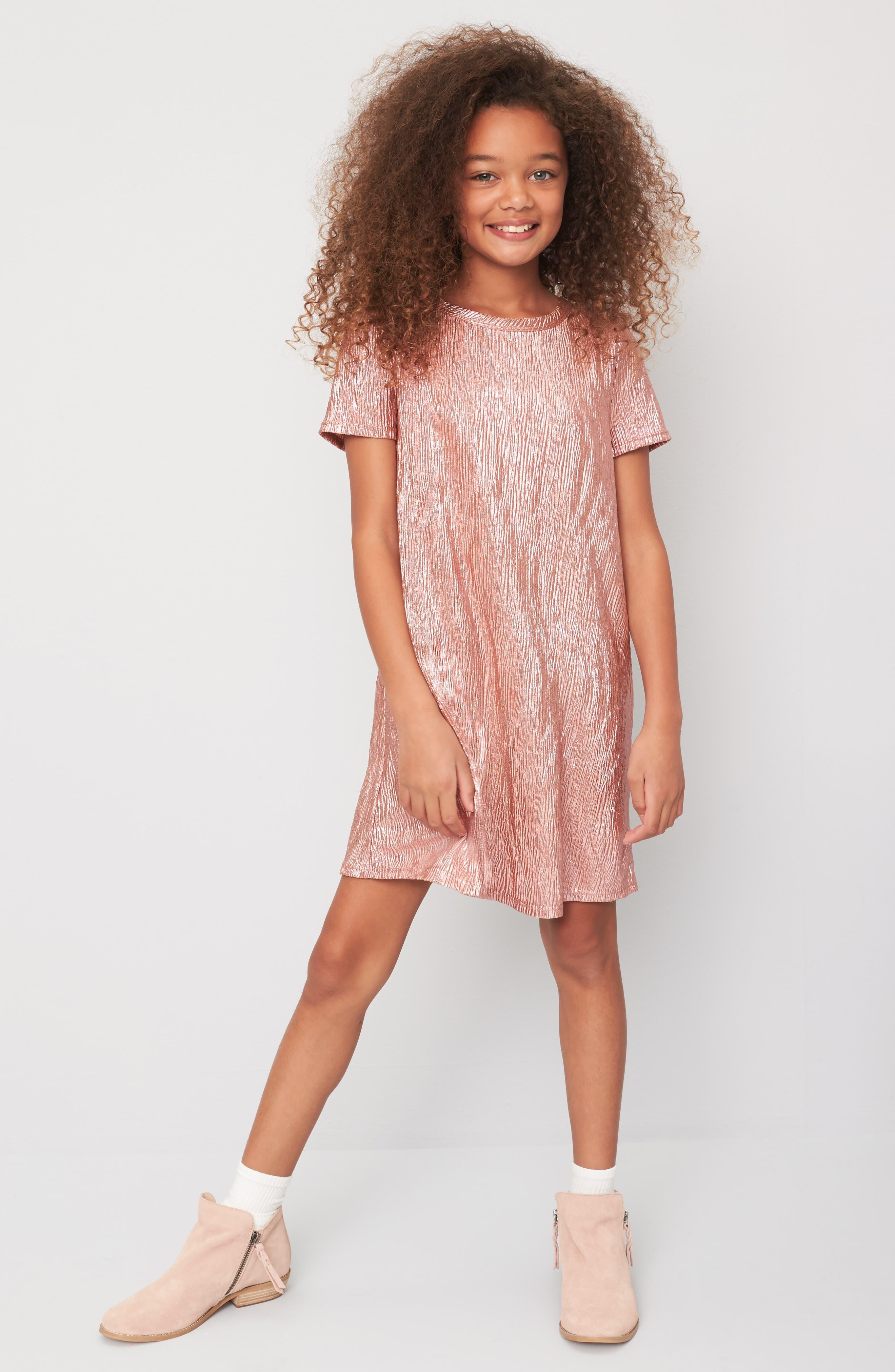 Love Fire Crinkled Metallic T-Shirt Dress,                             Alternate thumbnail 2, color,                             Pink
