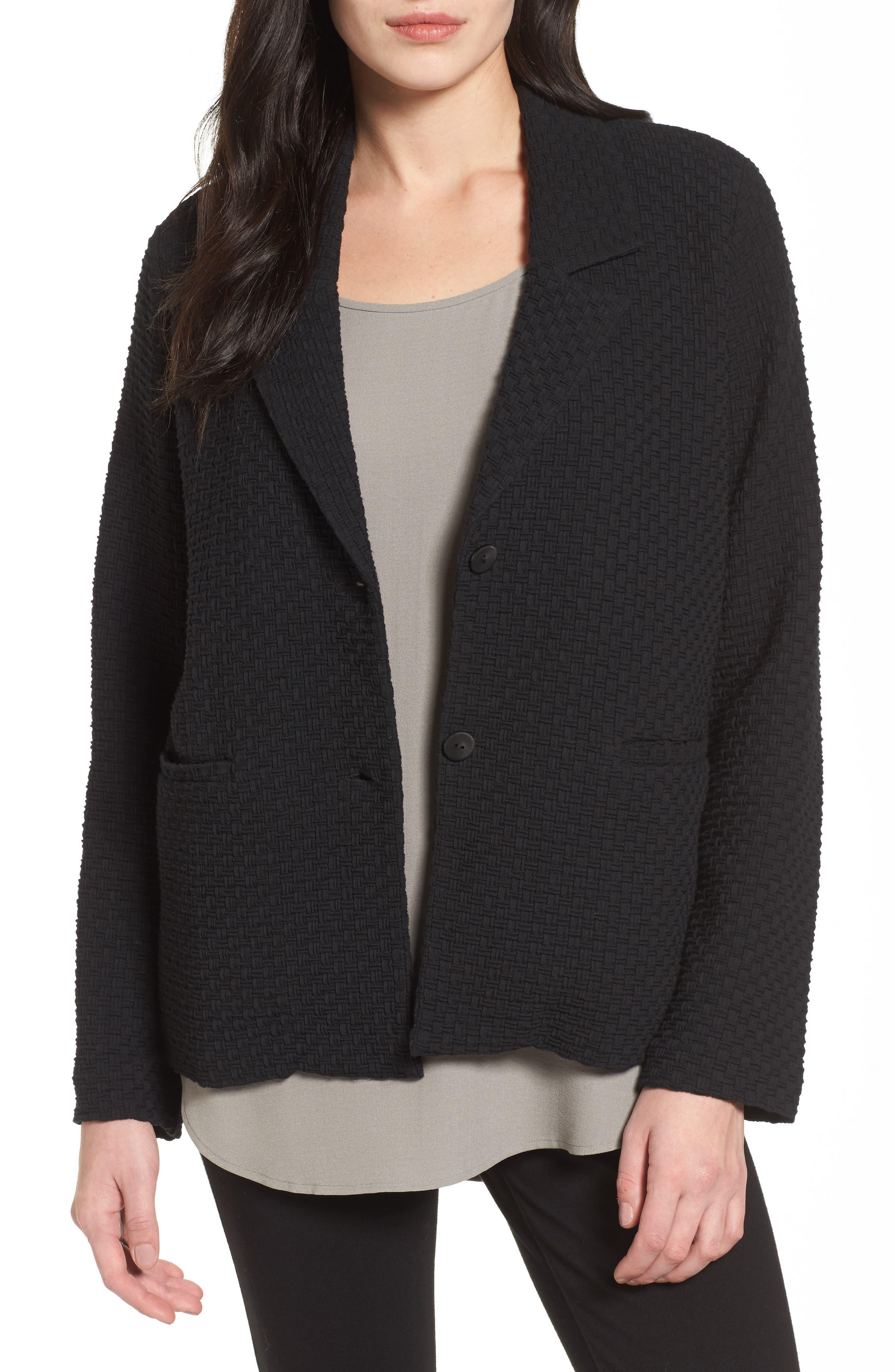 Boxy Jacquard Jacket,                         Main,                         color, Black