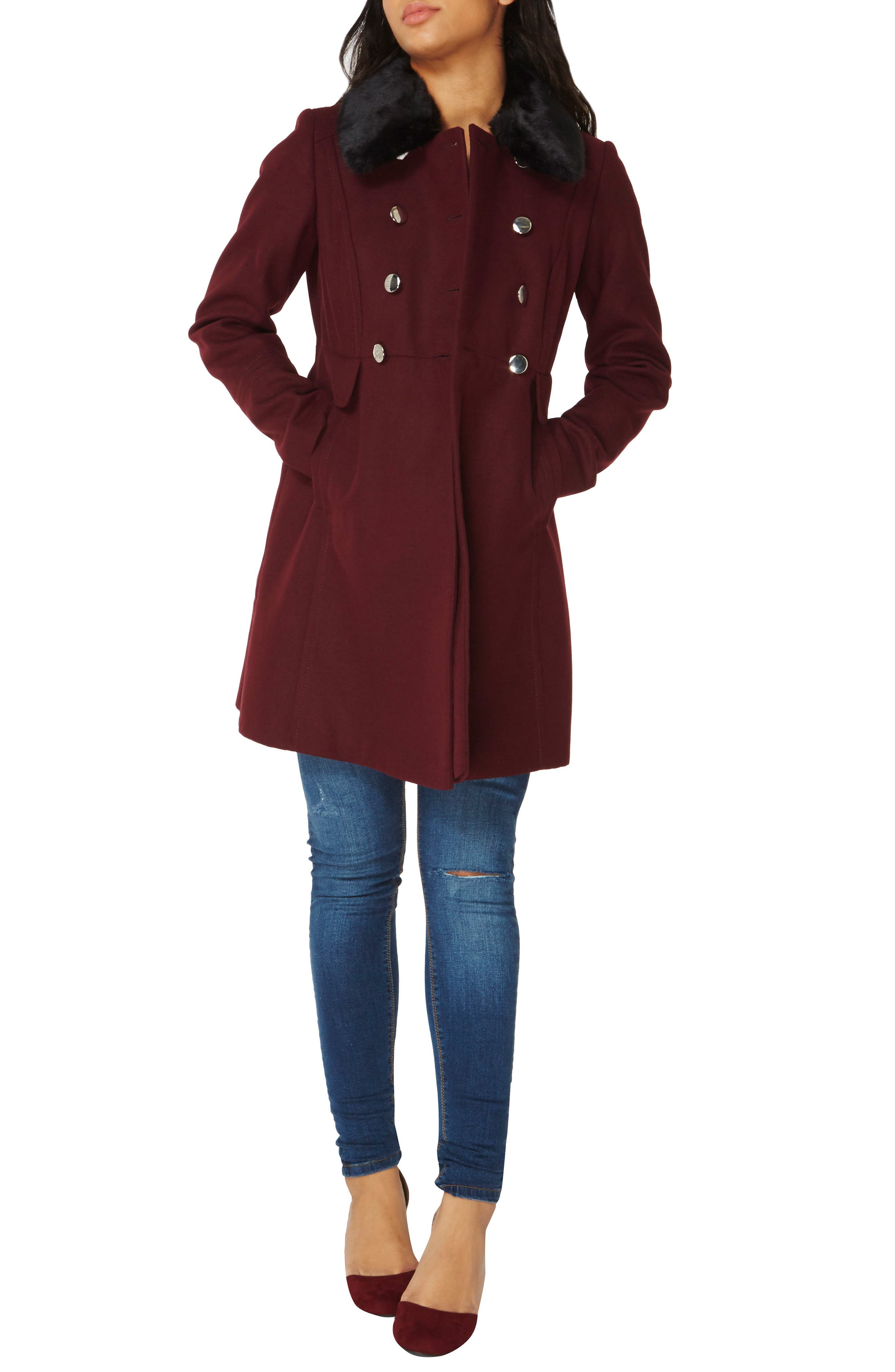 Faux Fur Collar Double Breasted Coat,                             Alternate thumbnail 2, color,                             Berry Red