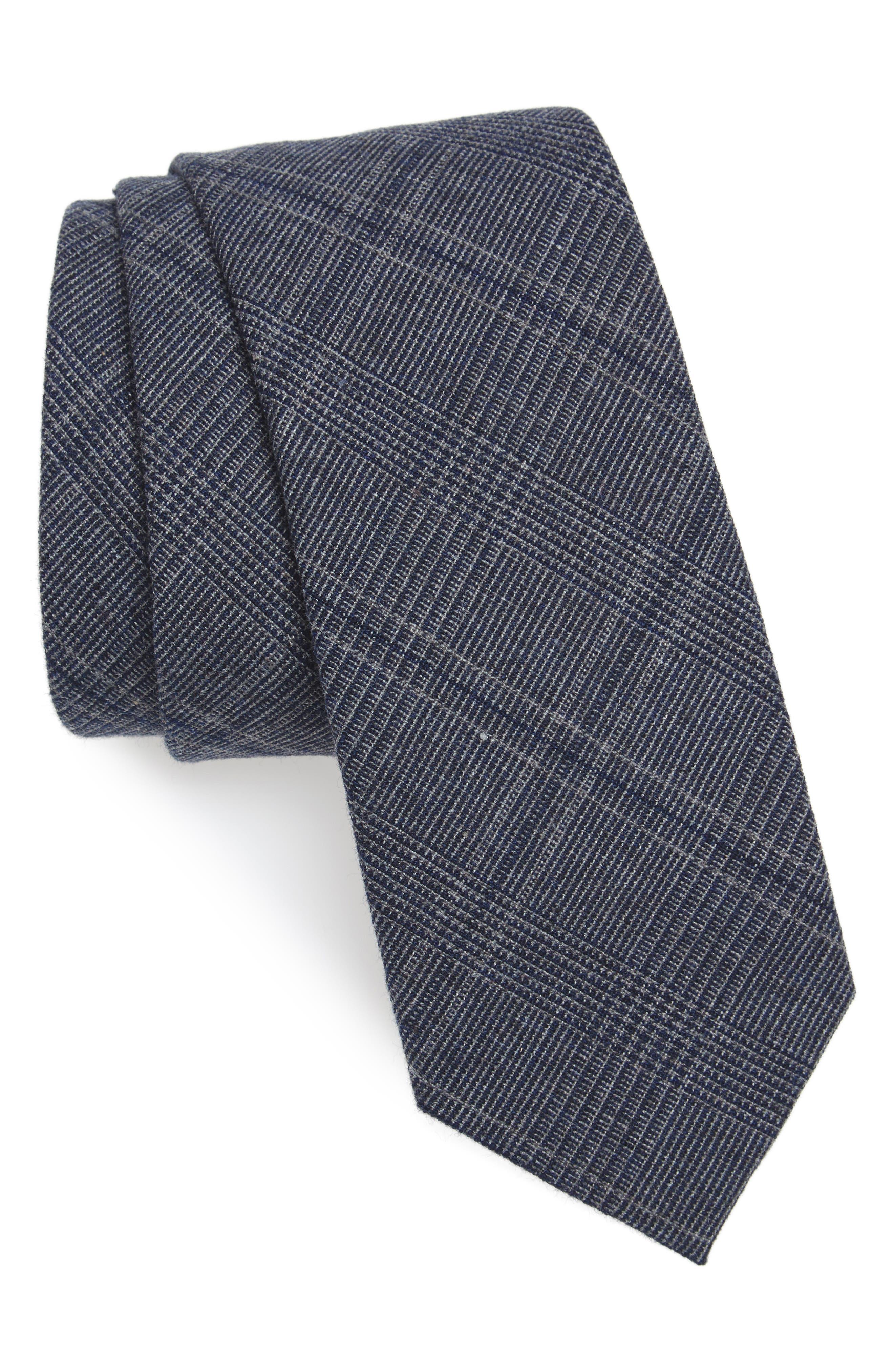 Cobble Plaid Cotton & Linen Tie,                         Main,                         color, Dark Navy