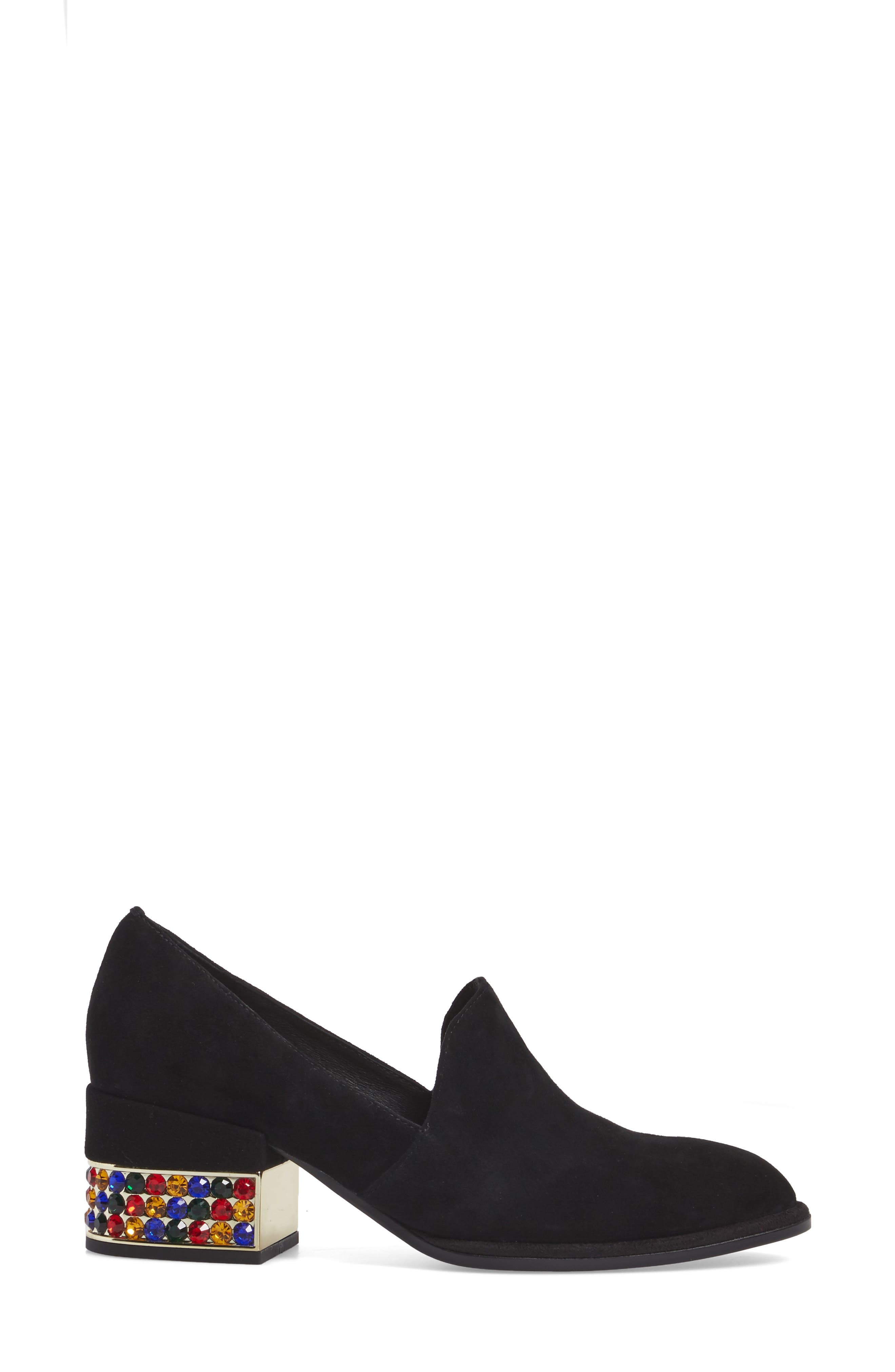 Serlin Jeweled Heel Loafer,                             Alternate thumbnail 3, color,                             Black Suede Bright Combo
