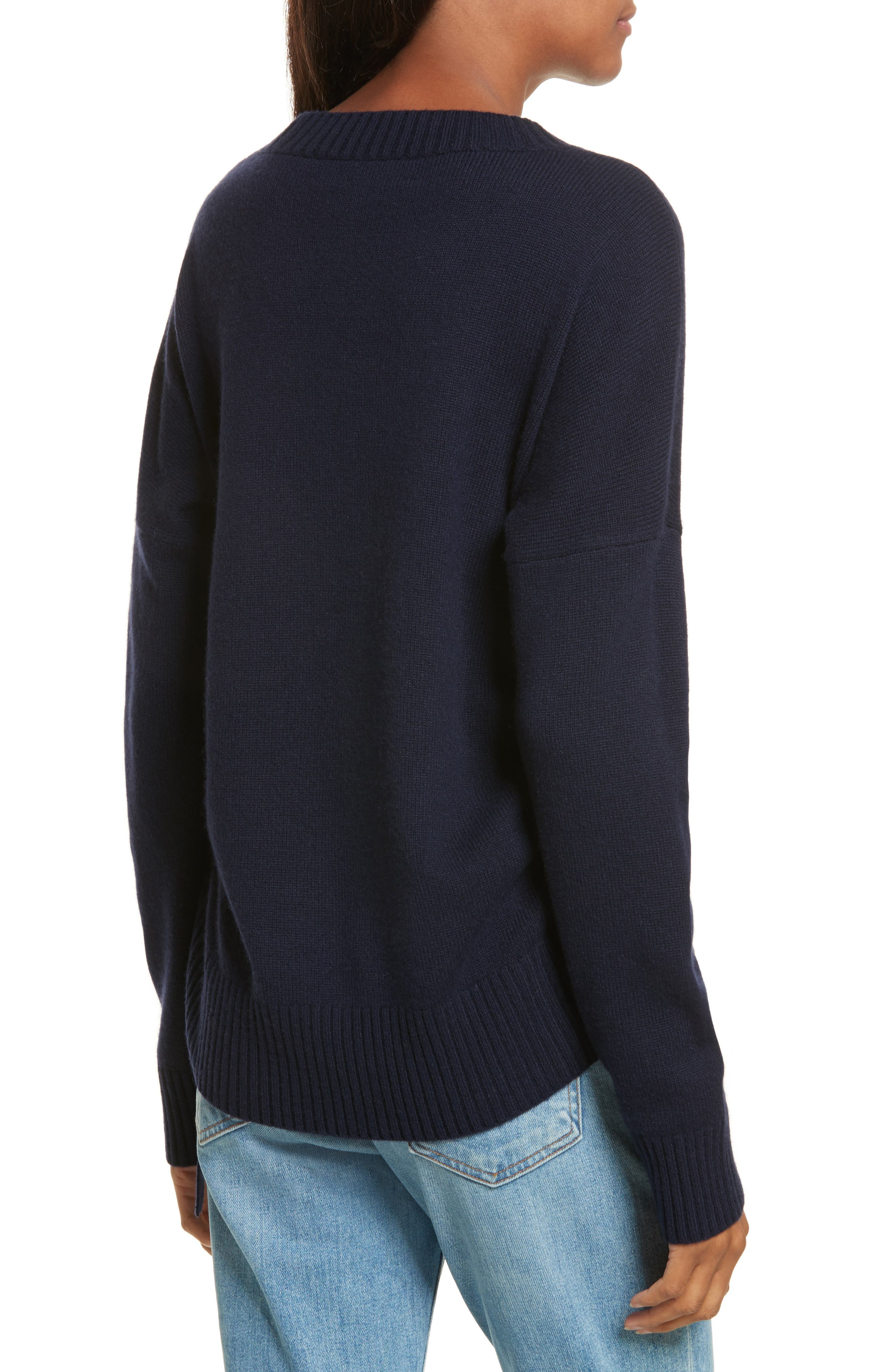 Side Tie Cashmere Sweater,                             Alternate thumbnail 2, color,                             Midnight