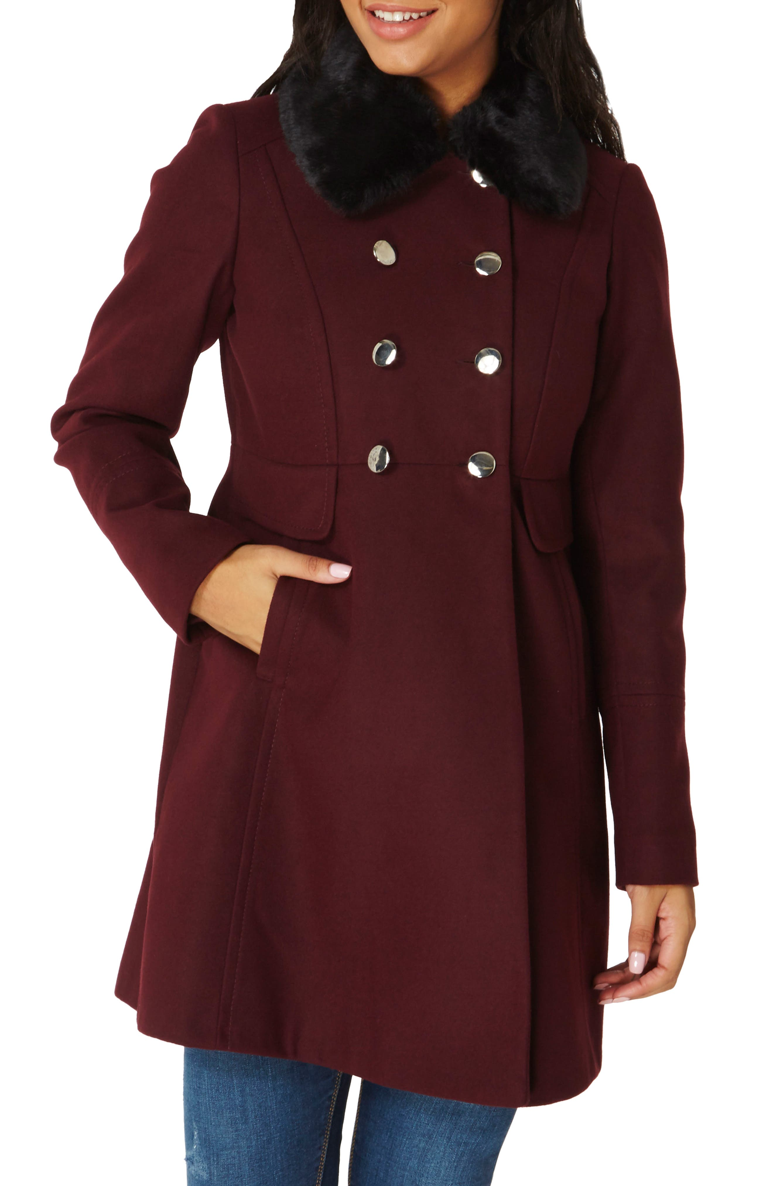 Faux Fur Collar Double Breasted Coat,                         Main,                         color, Berry Red