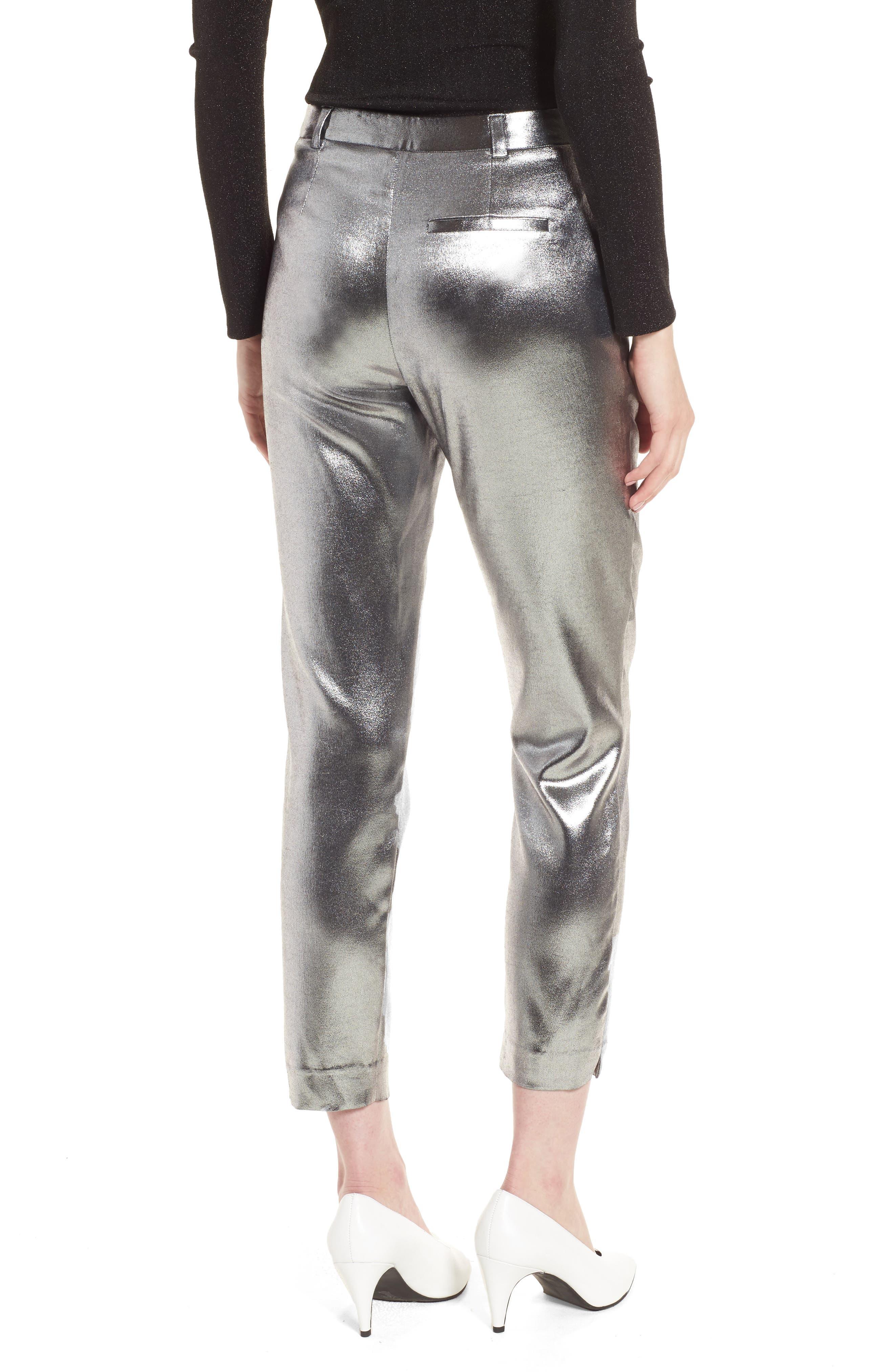 Metallic Suit Trousers,                             Alternate thumbnail 3, color,                             Silver