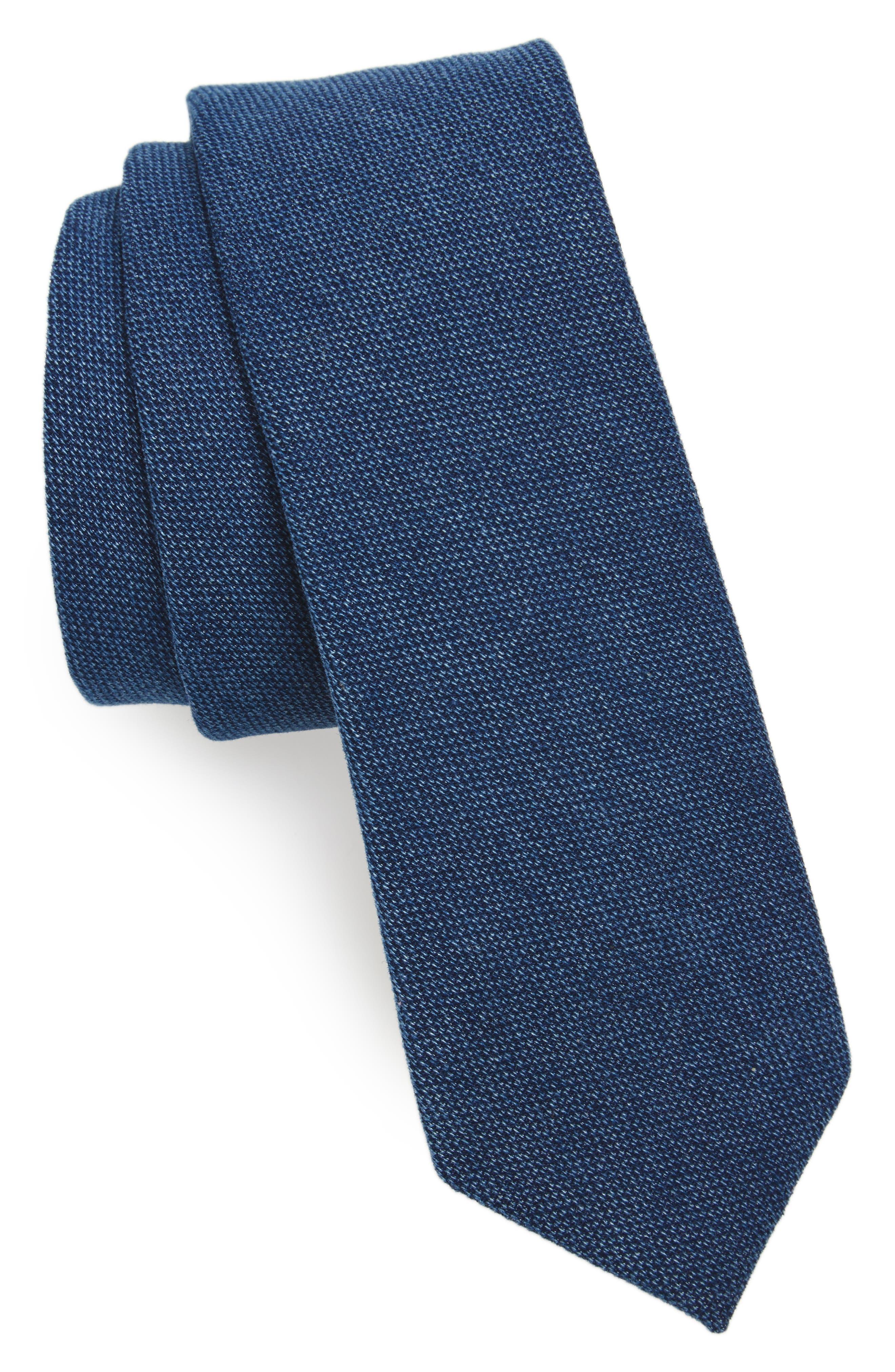 Verona Solid Cotton Skinny Tie,                         Main,                         color, Navy