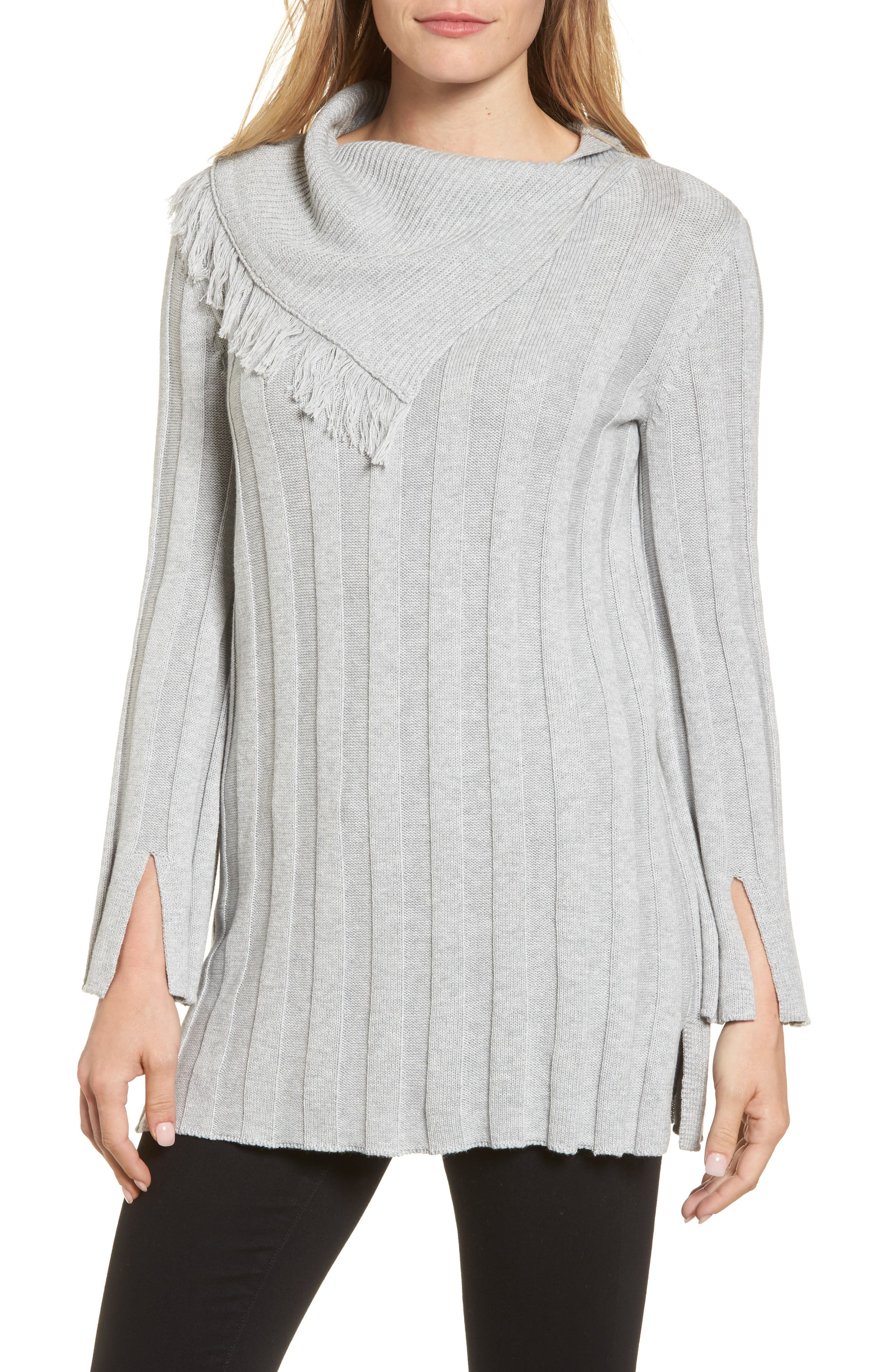 Chaus Fringe Cowl Neck Sweater