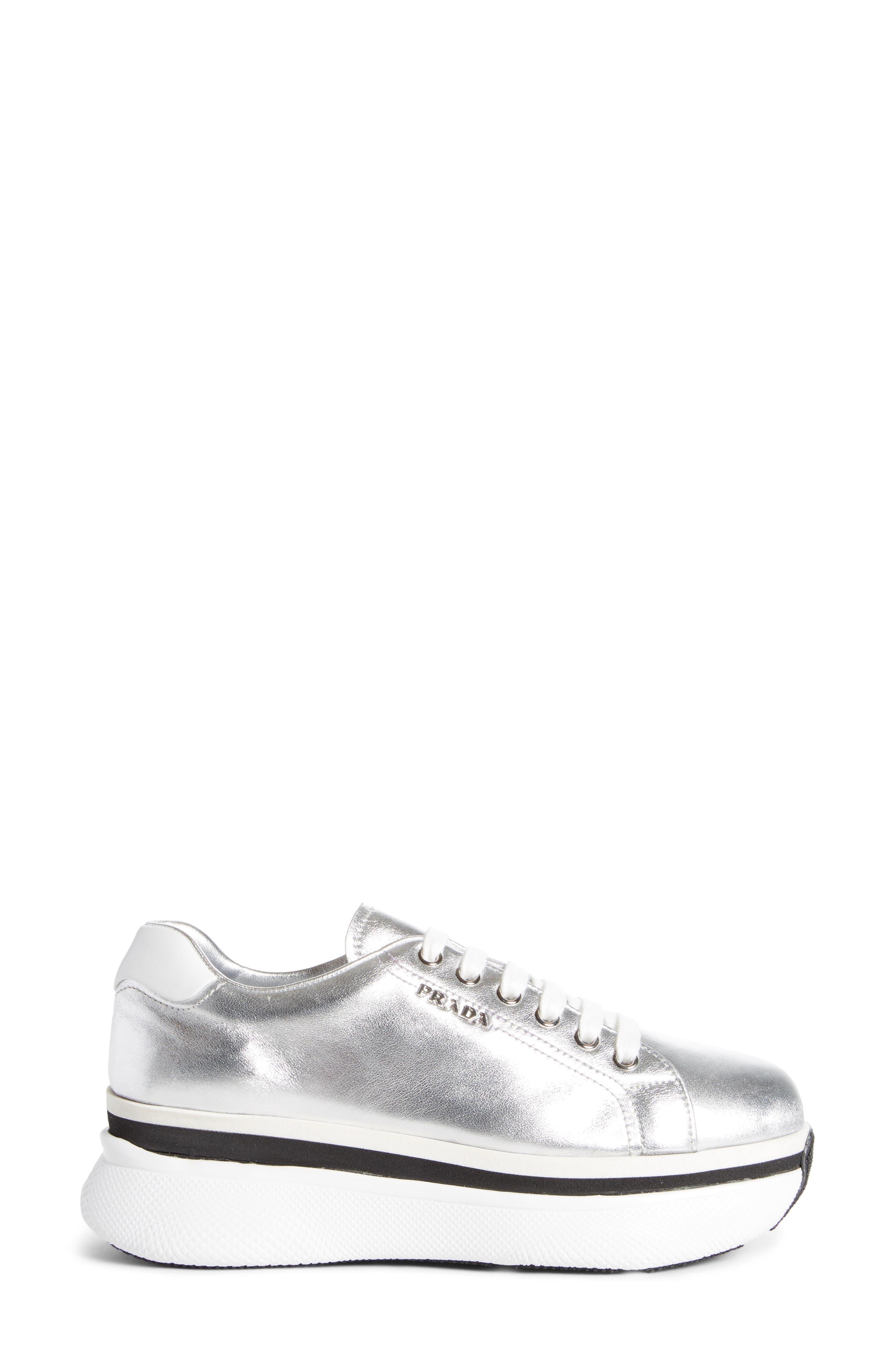 Platform Lace-Up Sneaker,                             Alternate thumbnail 4, color,                             Silver