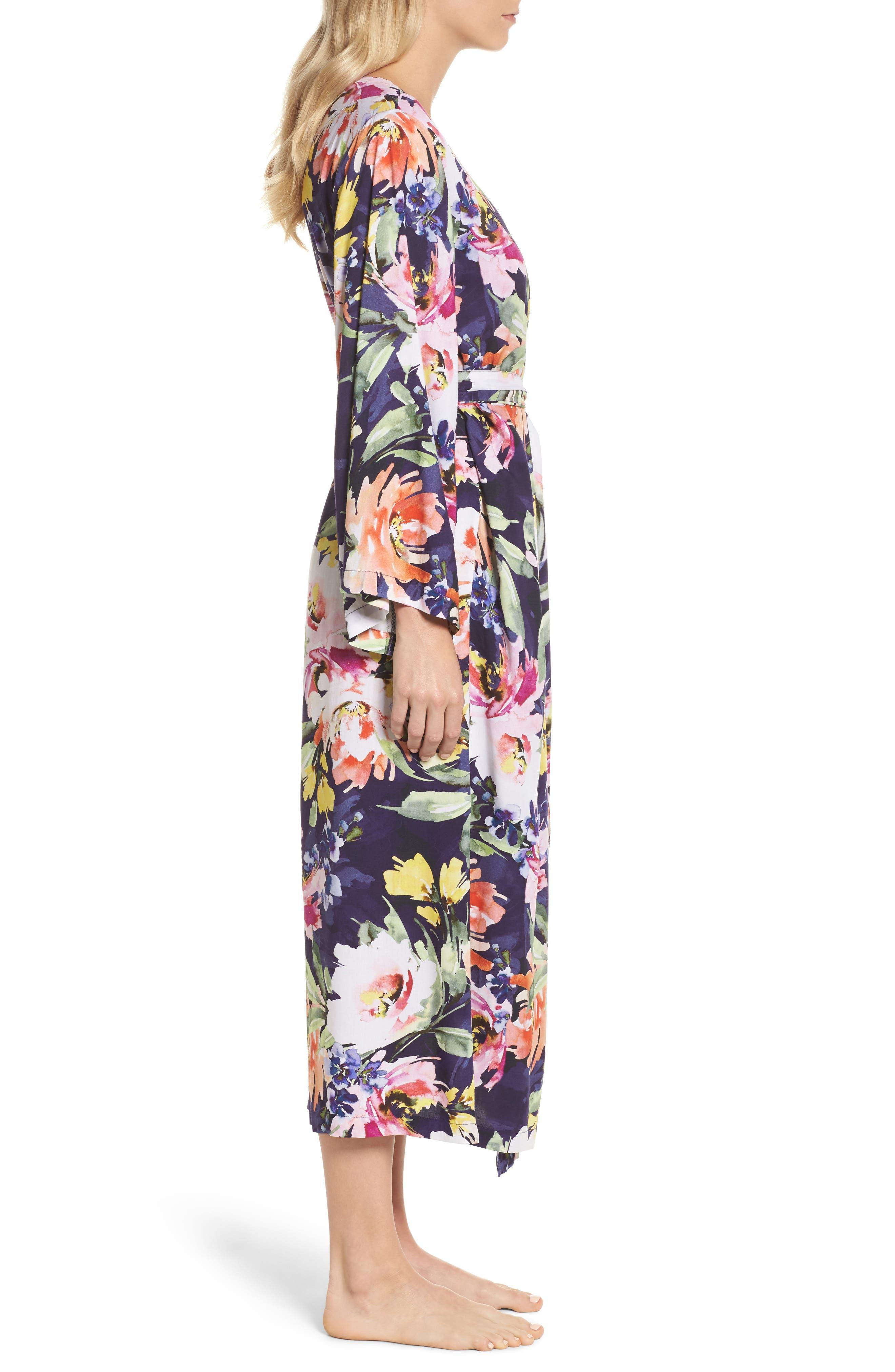 Long Floral Kimono Robe,                             Alternate thumbnail 3, color,                             Zephyr