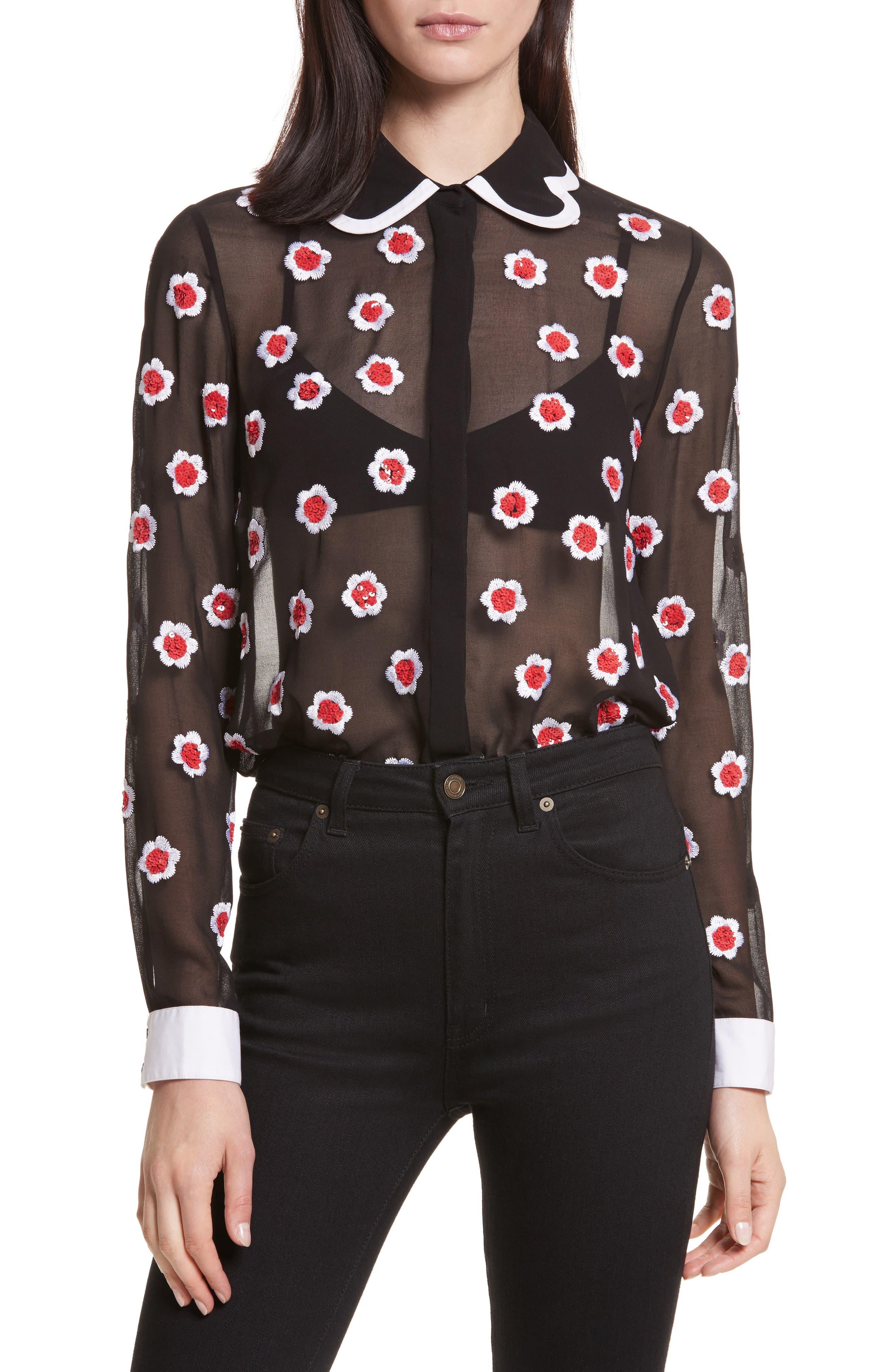Willa Print Sheer Blouse,                         Main,                         color, Black/ Multi