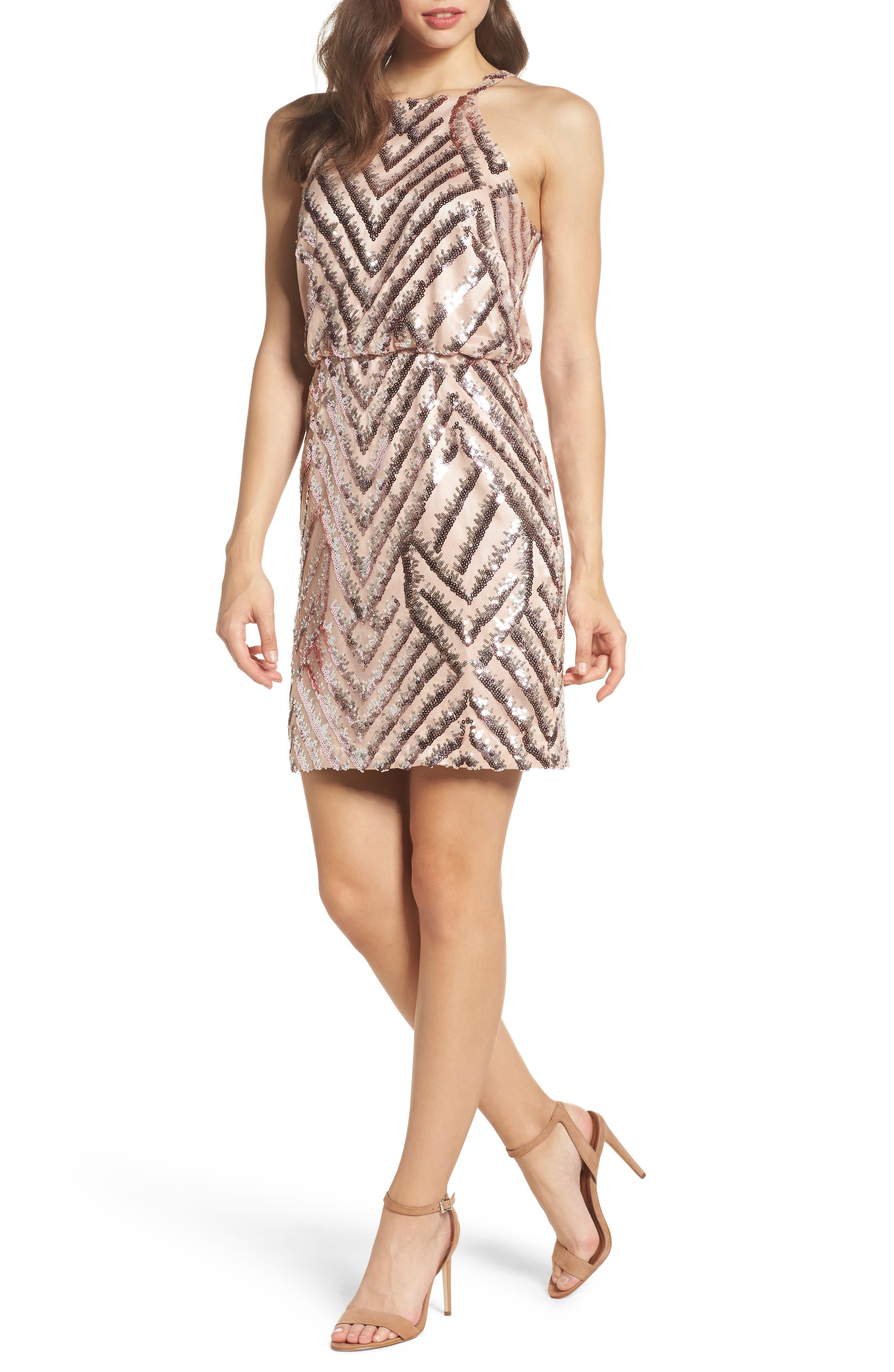 Sequin Blouson Dress,                         Main,                         color, Pink