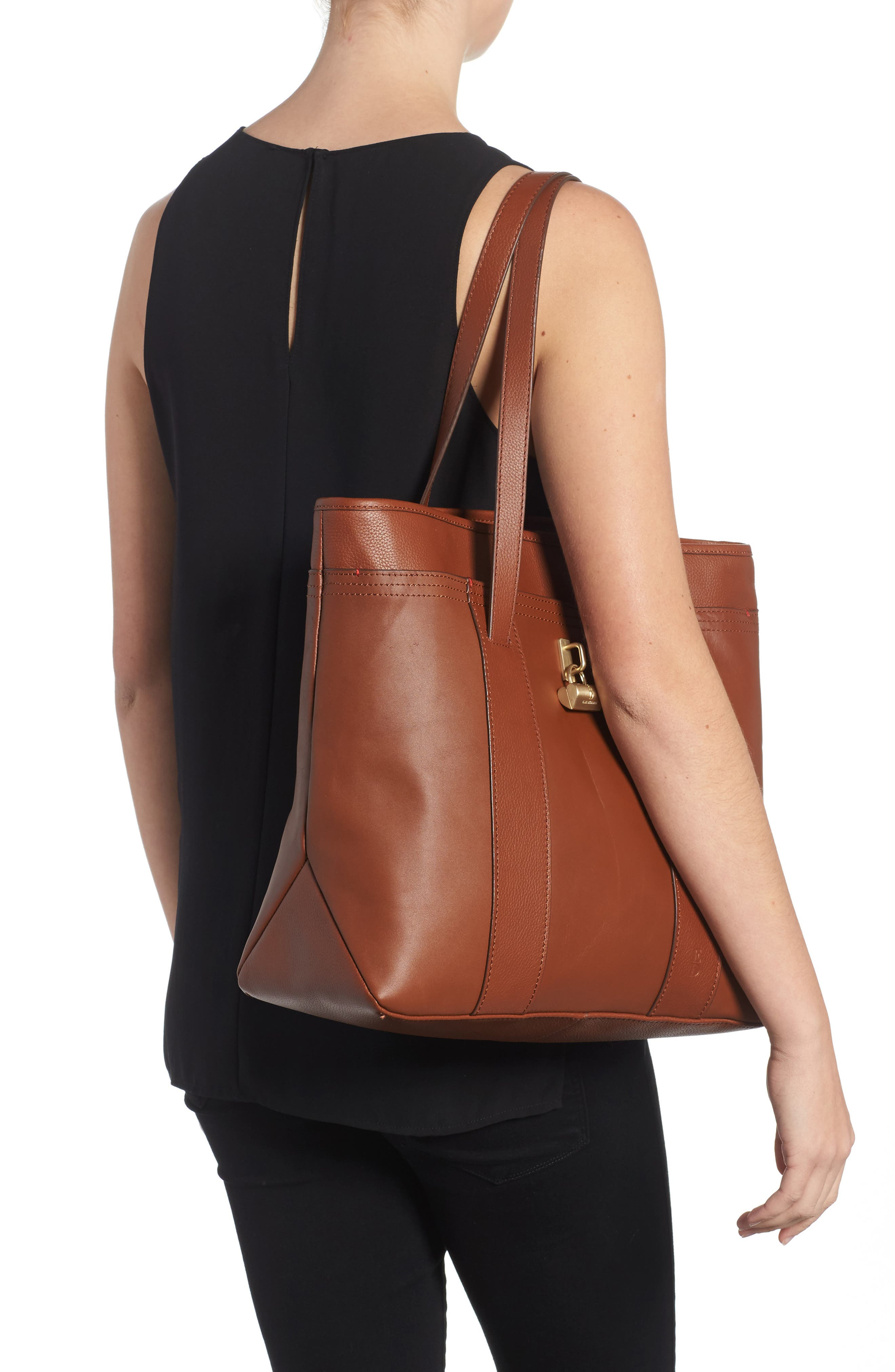 Brody Leather Tote,                             Alternate thumbnail 2, color,                             Whiskey