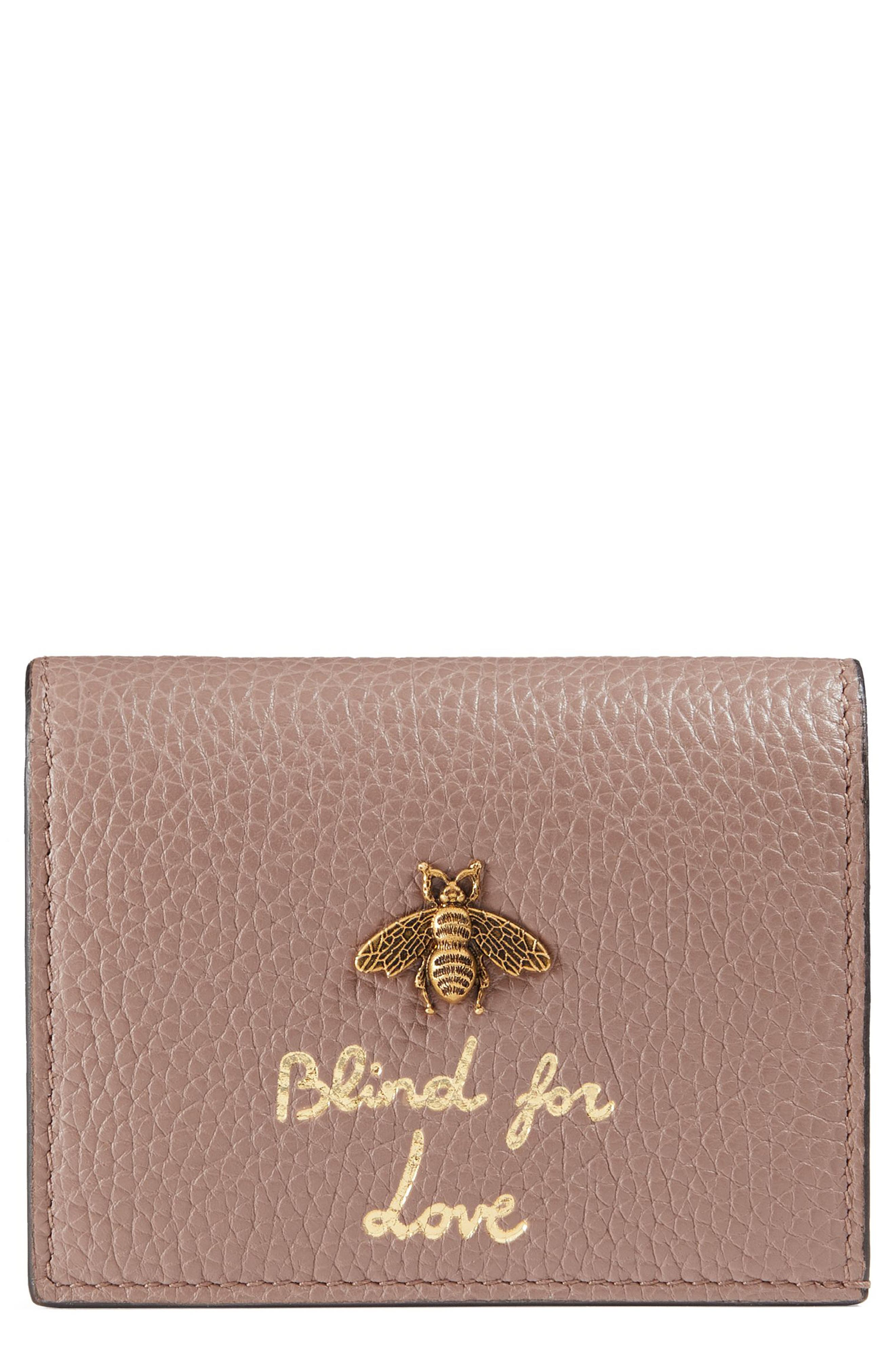 Animalier Bee Leather Card Case,                             Main thumbnail 1, color,                             Porcelain Rose