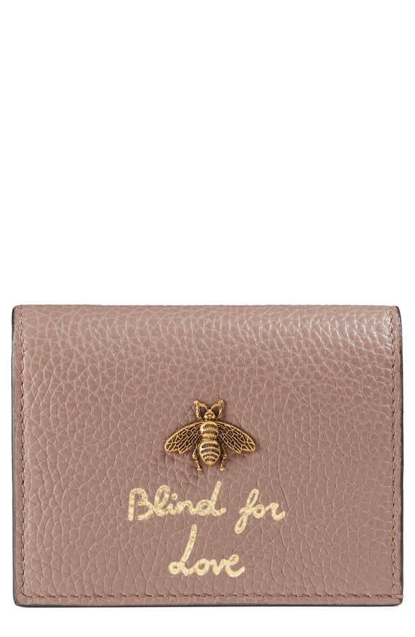 Gucci Animalier Bee Leather Card Case   Nordstrom