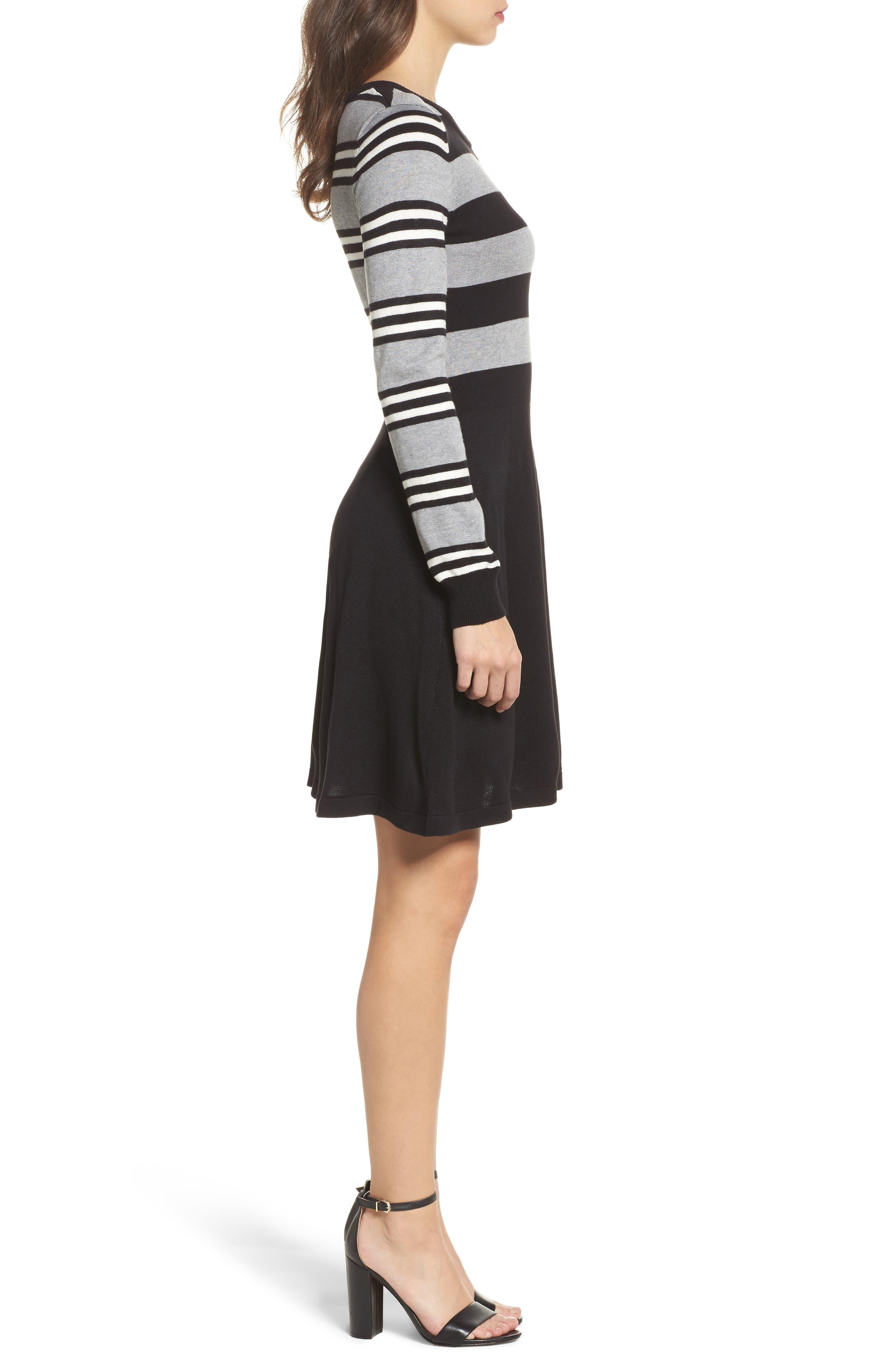 Fit & Flare Sweater Dress,                             Alternate thumbnail 3, color,                             Multi